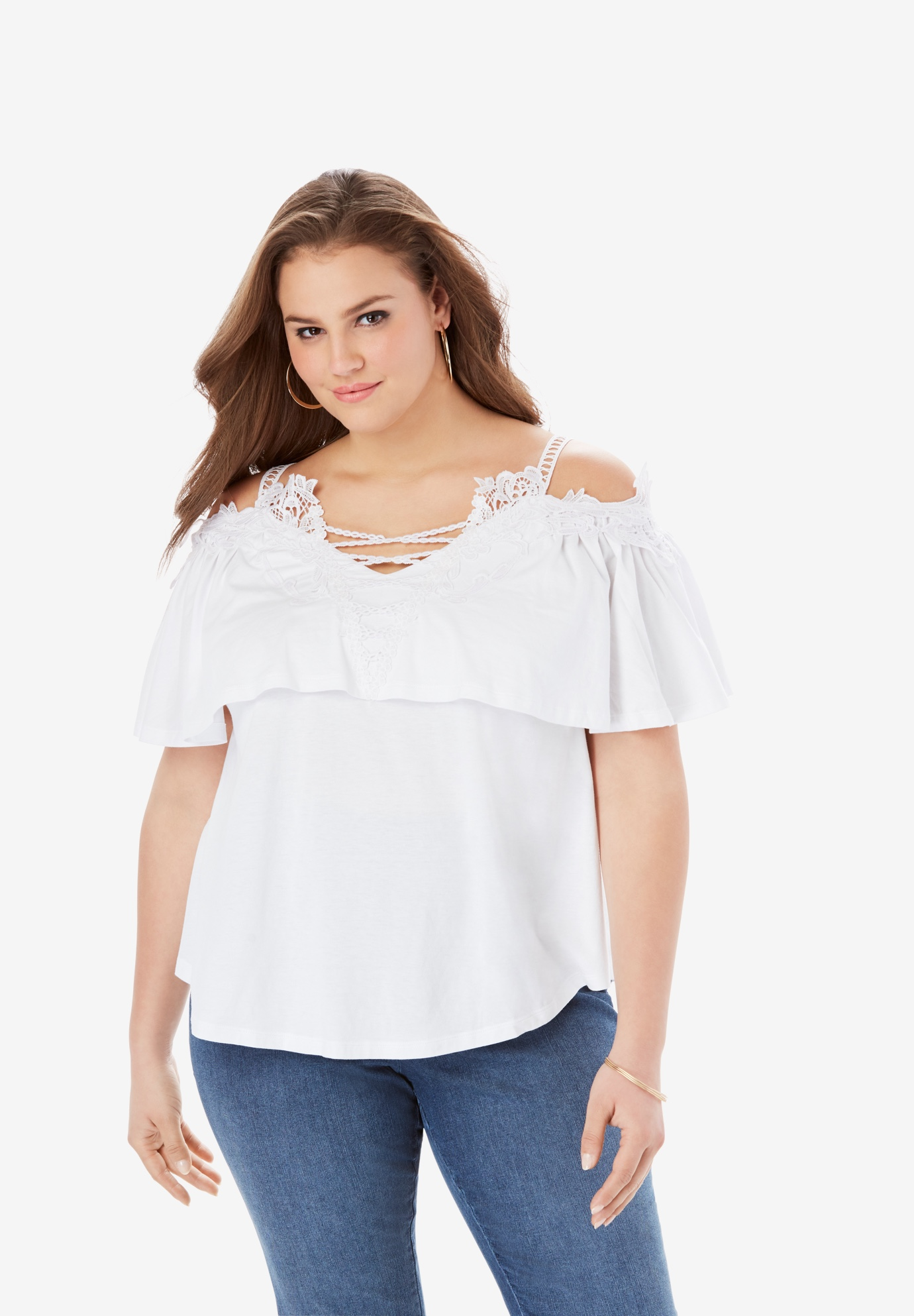 Lace Cold Shoulder Top,
