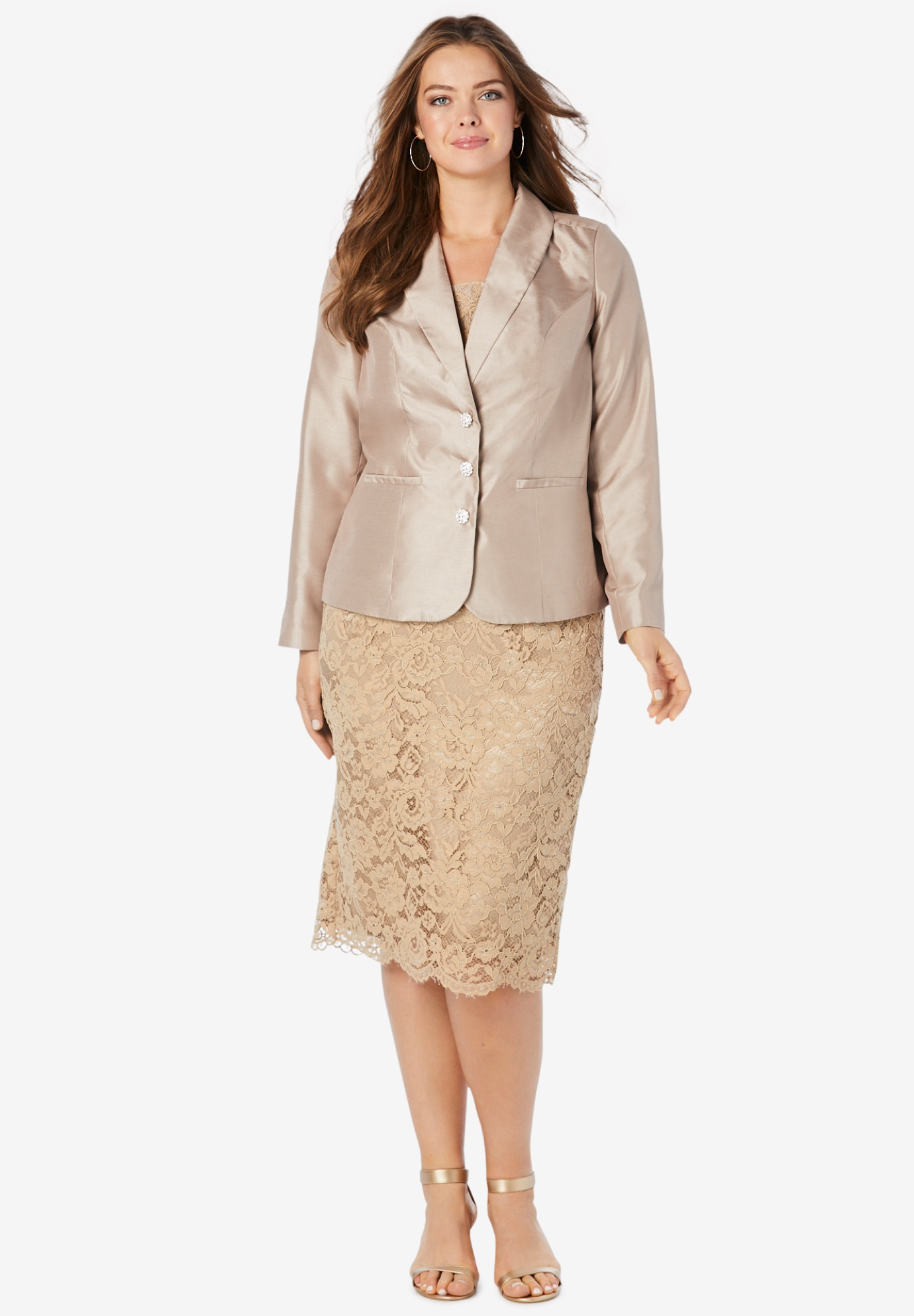 Two-Piece Lace Skirt Suit,