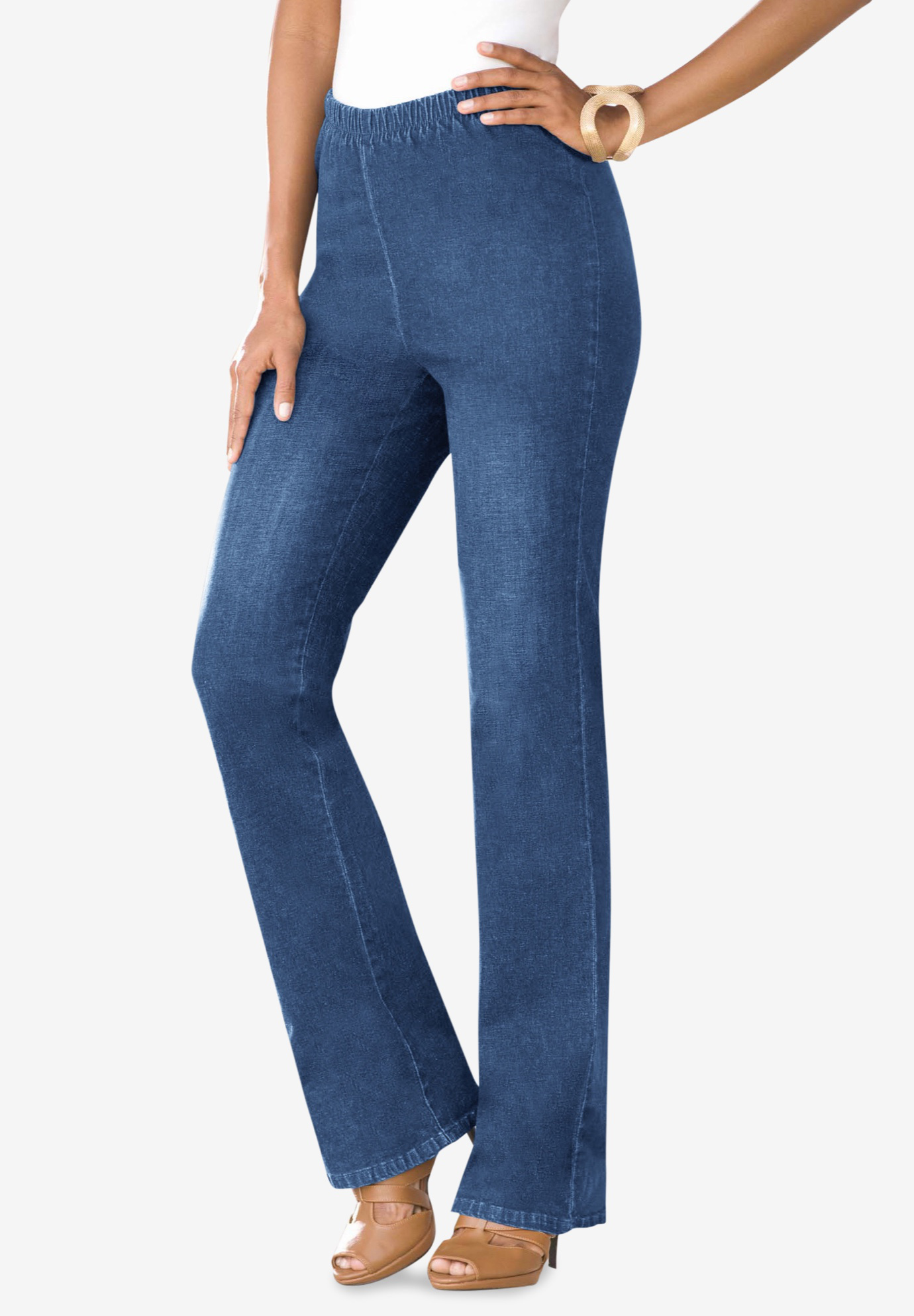 Pull-On Stretch Denim Bootcut Jean by Denim 24/7®,