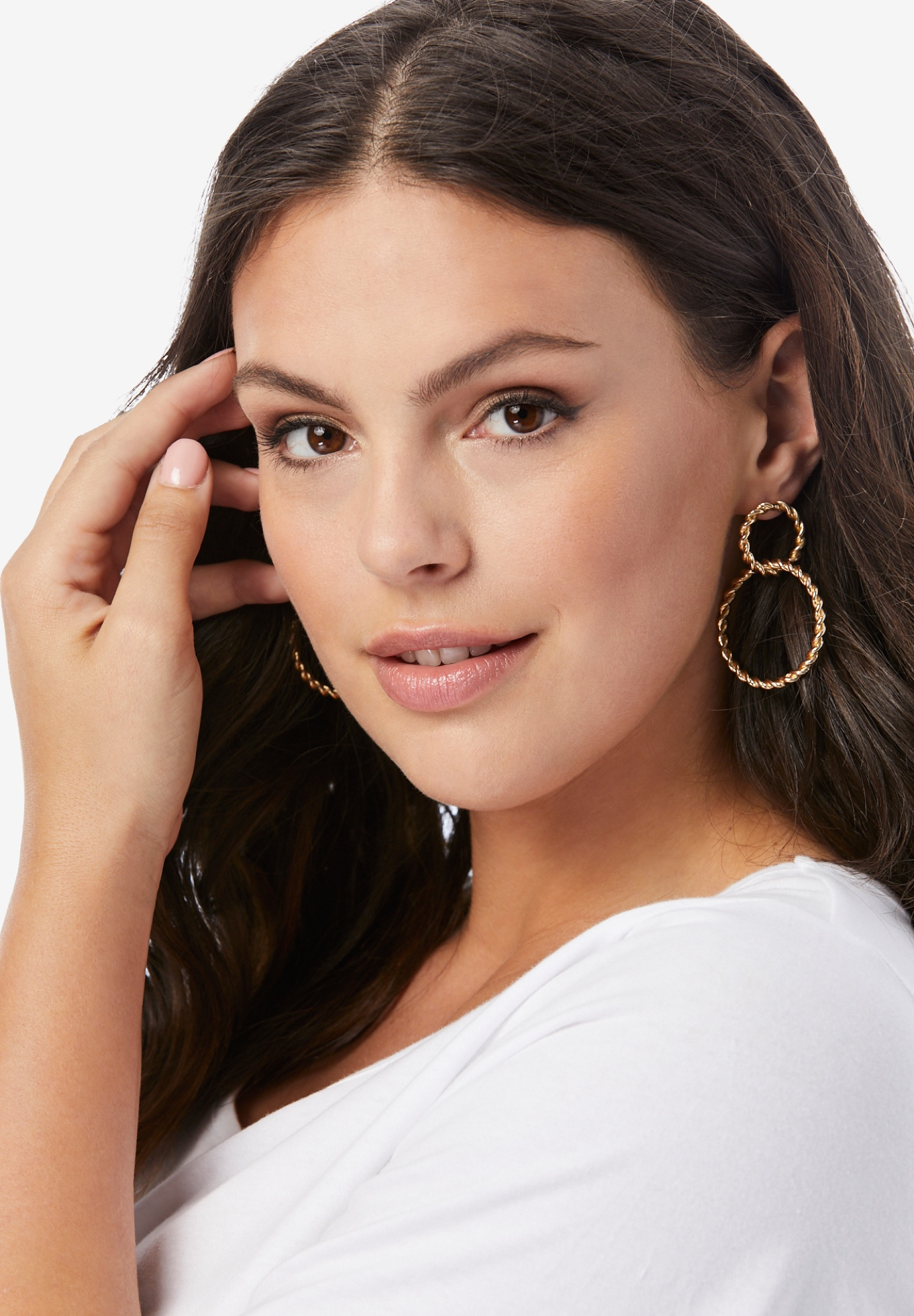 Twisted Double-Circle Earrings, GOLD