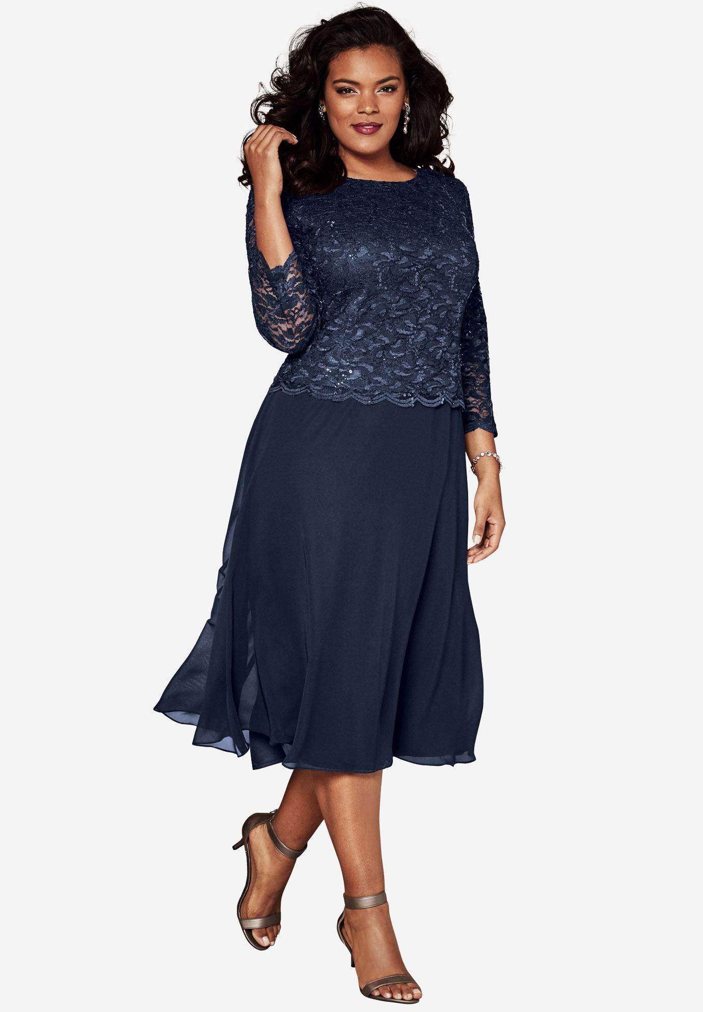Lace Popover Dress | Plus Size Evening Dresses | Roaman\'s