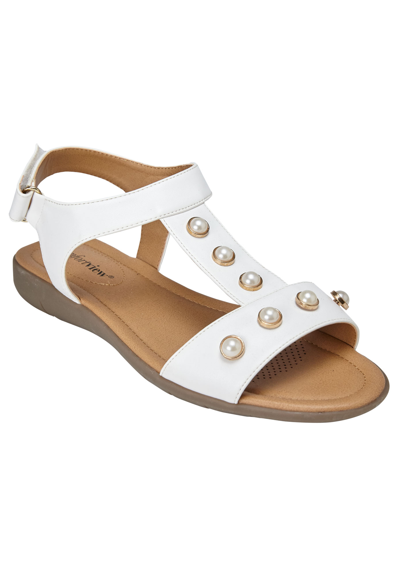 Annalise Sandals by Comfortview® , WHITE, hi-res
