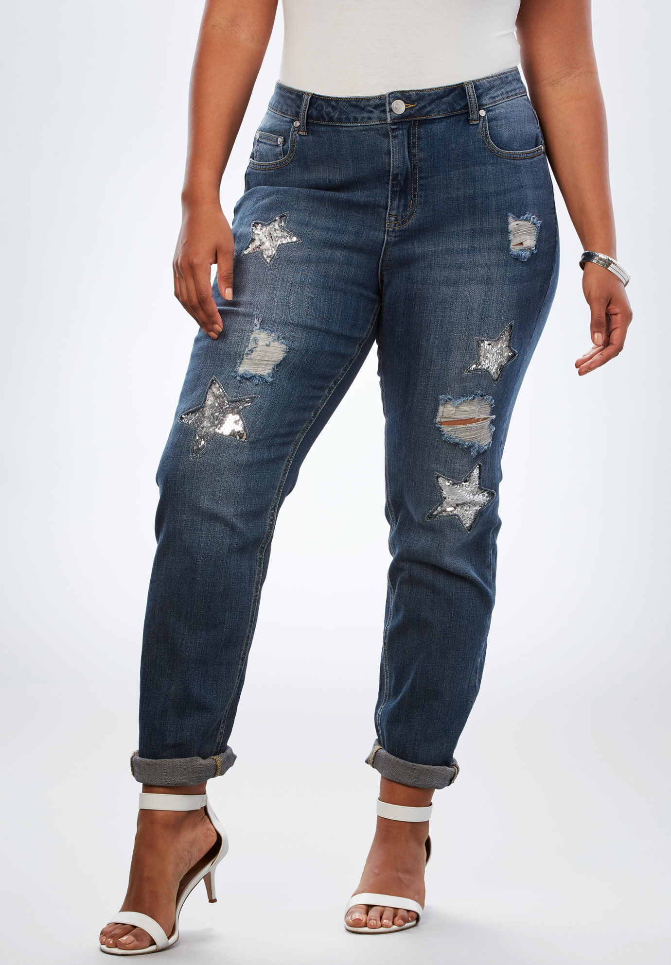 Sequin Star Boyfriend Jean by Denim 24/7®, DARK WASH, hi-res