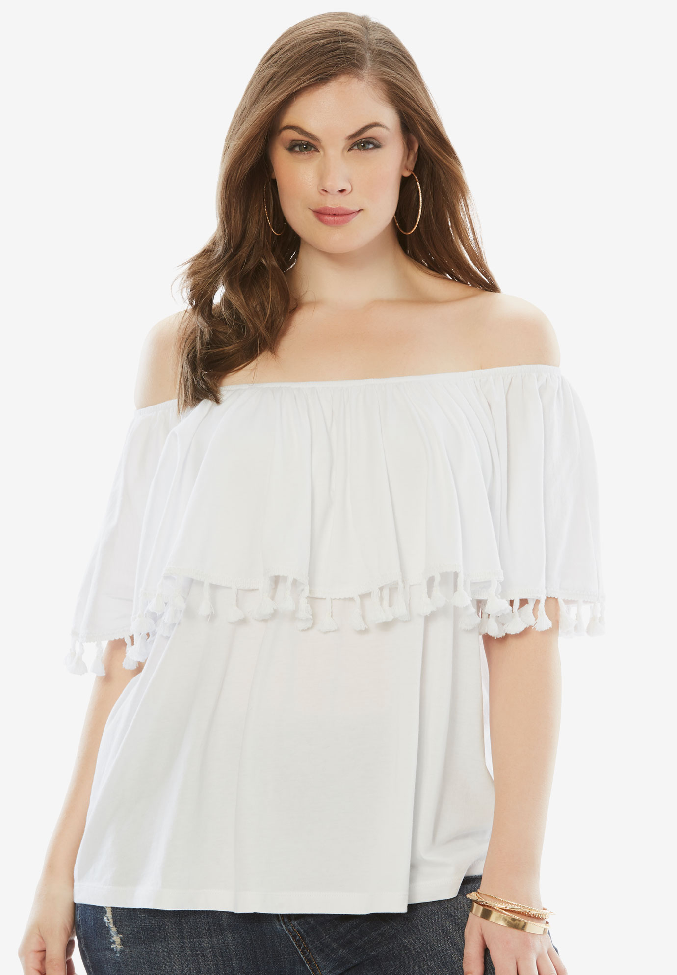 Off-The-Shoulder Fringe Top, WHITE, hi-res
