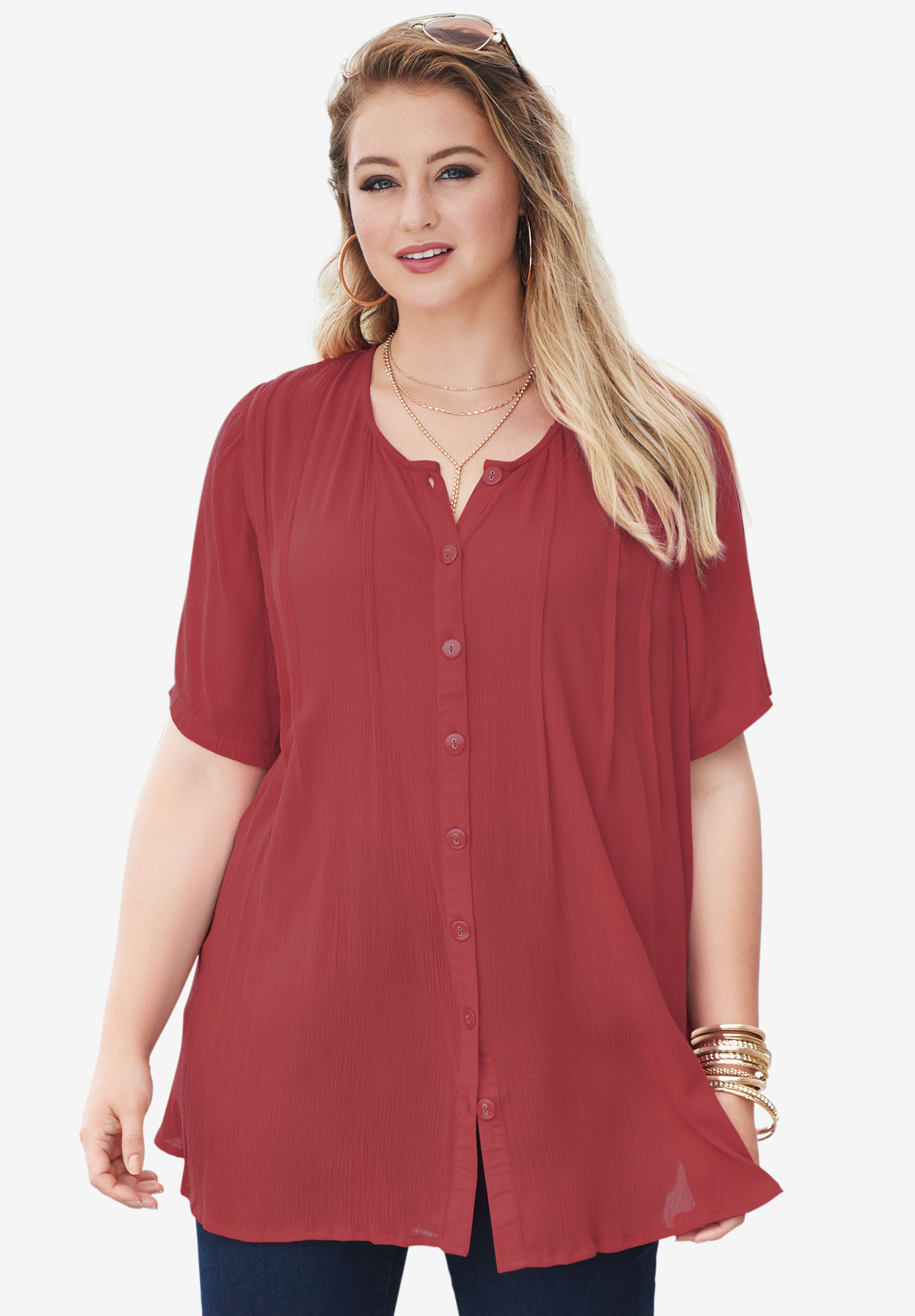 Angelina Tunic, RED OCHRE, hi-res