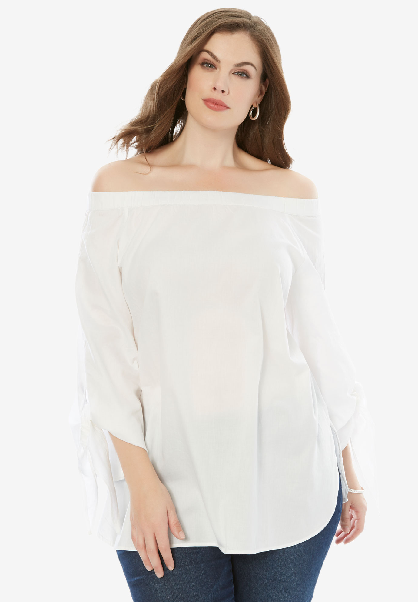 Off-The-Shoulder Tunic, WHITE, hi-res