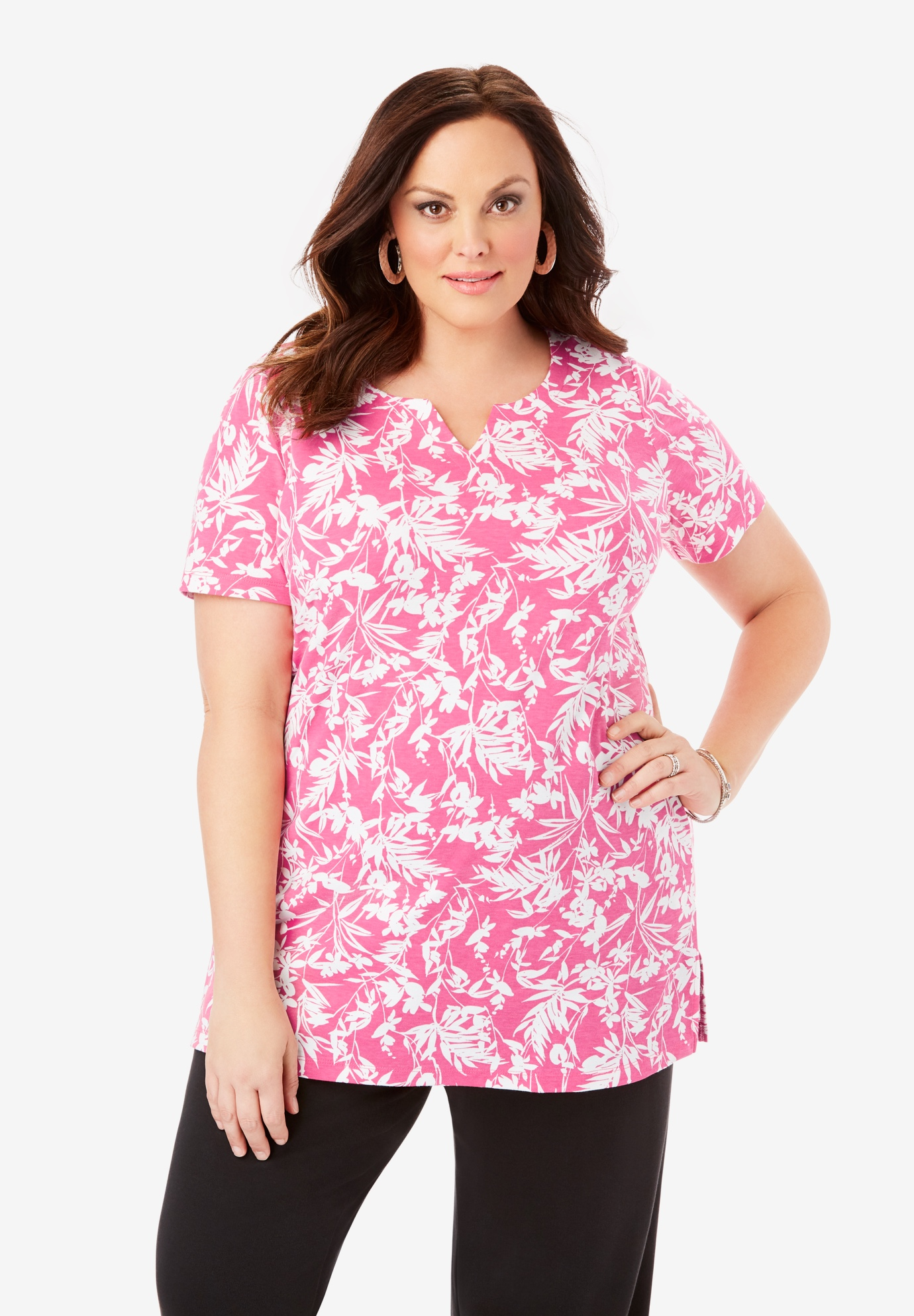 Print Notch-Neck Soft Knit Tunic,