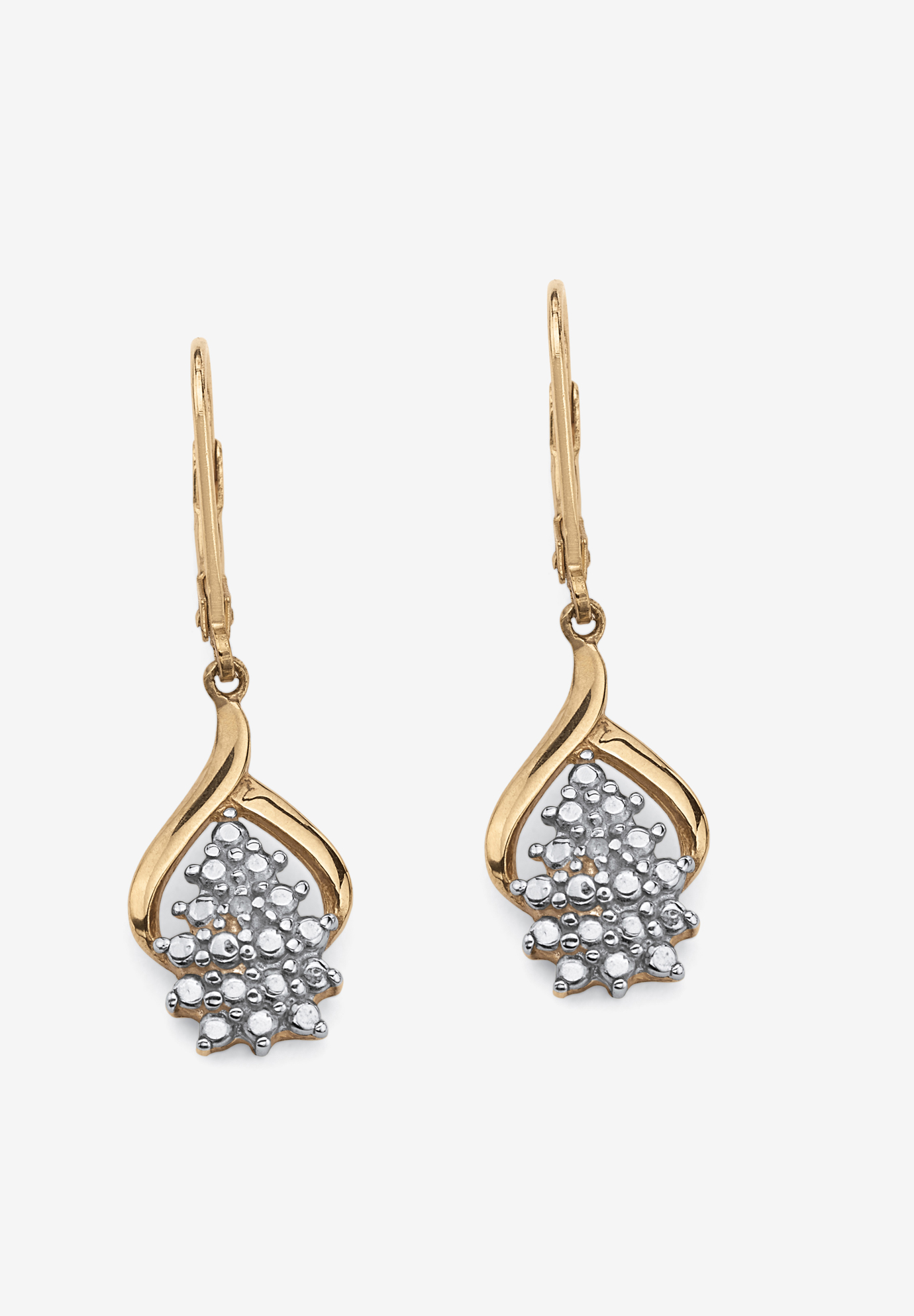 Gold & Sterling Silver Cluster Drop Earrings with Diamond Accent, GOLD