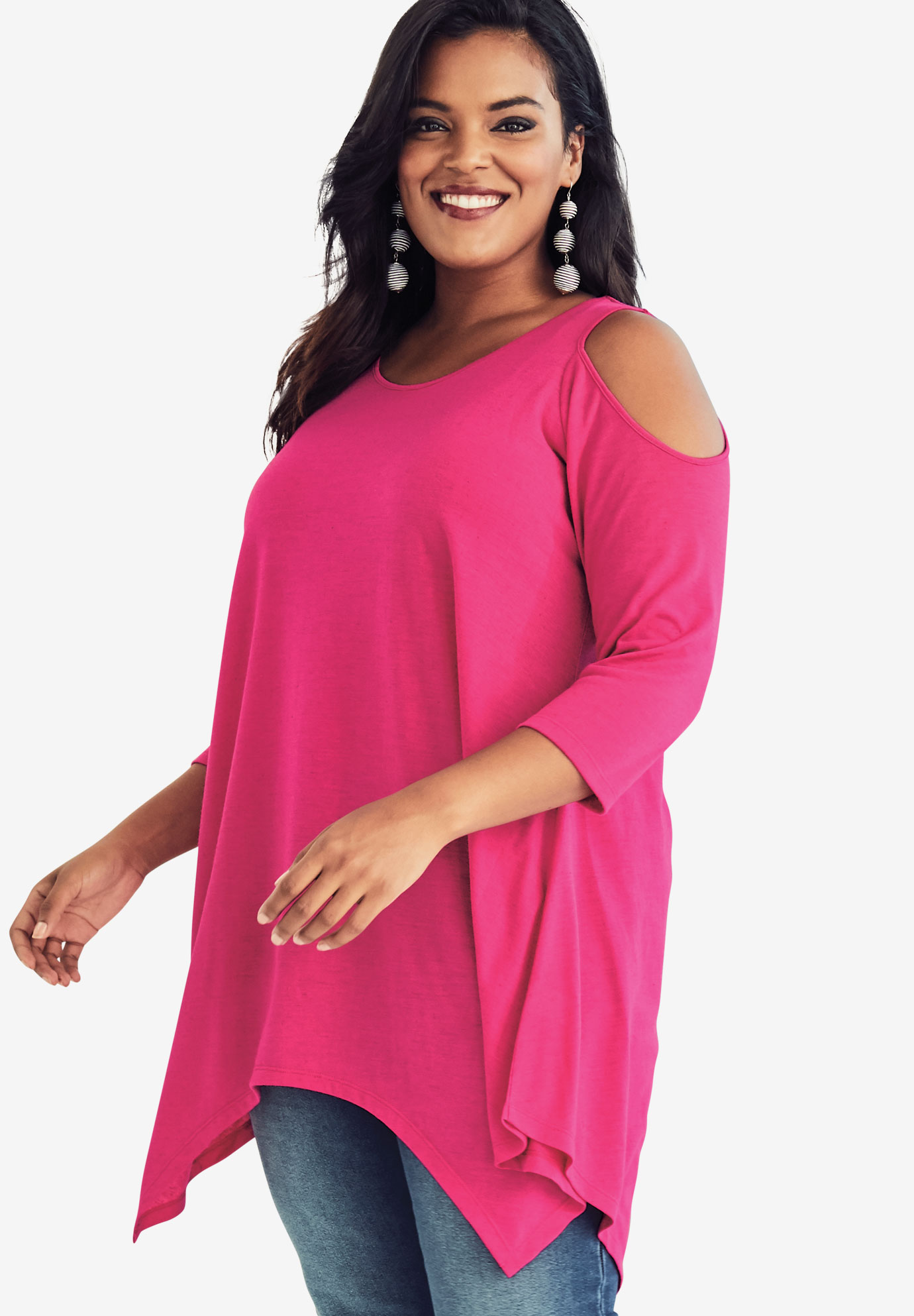 Cold Shoulder Linen Blend Tunic, PASSION PINK, hi-res