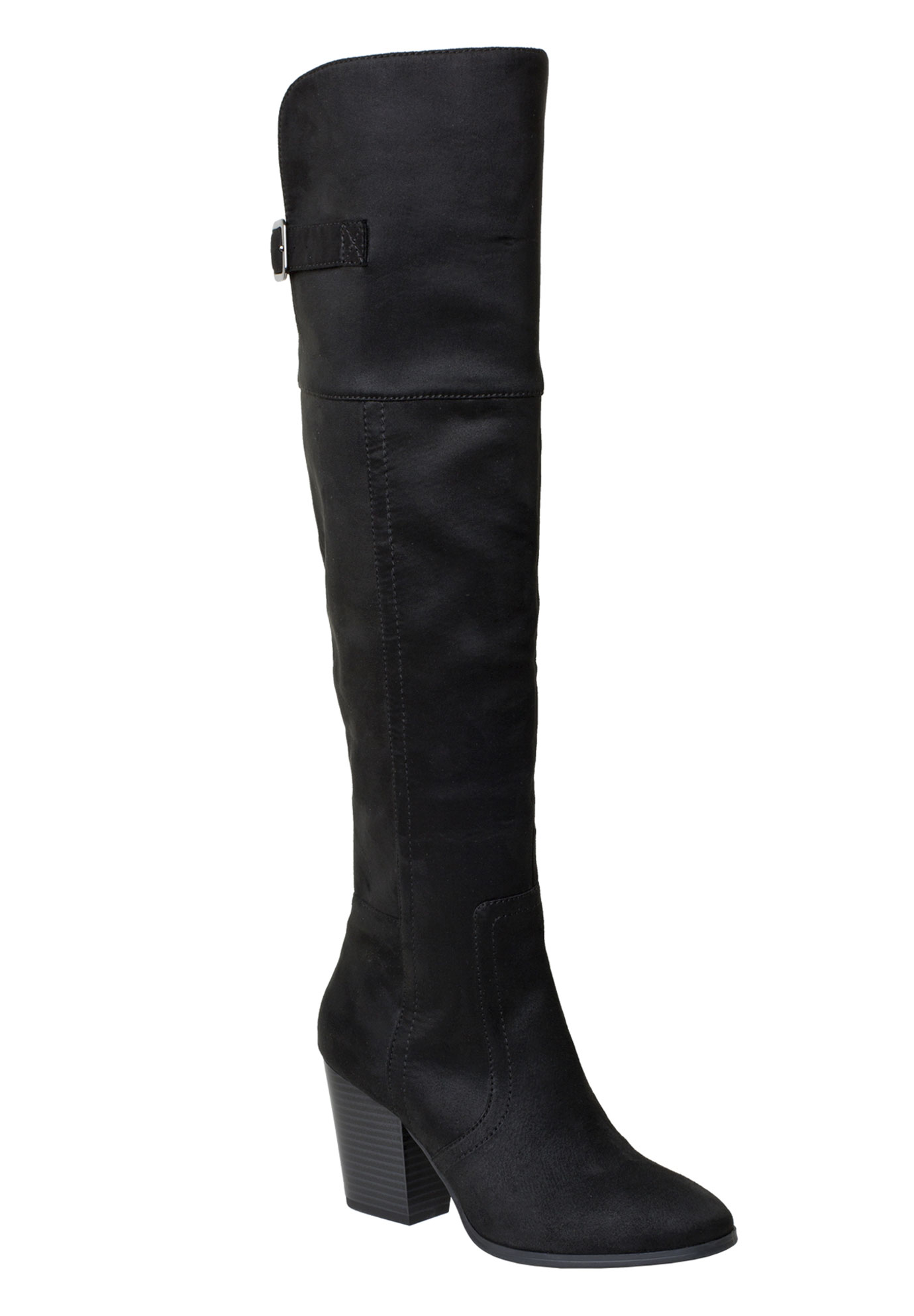 Maxwell Wide Calf Boots by Easy Street®, BLACK SUPER SUEDE, hi-res
