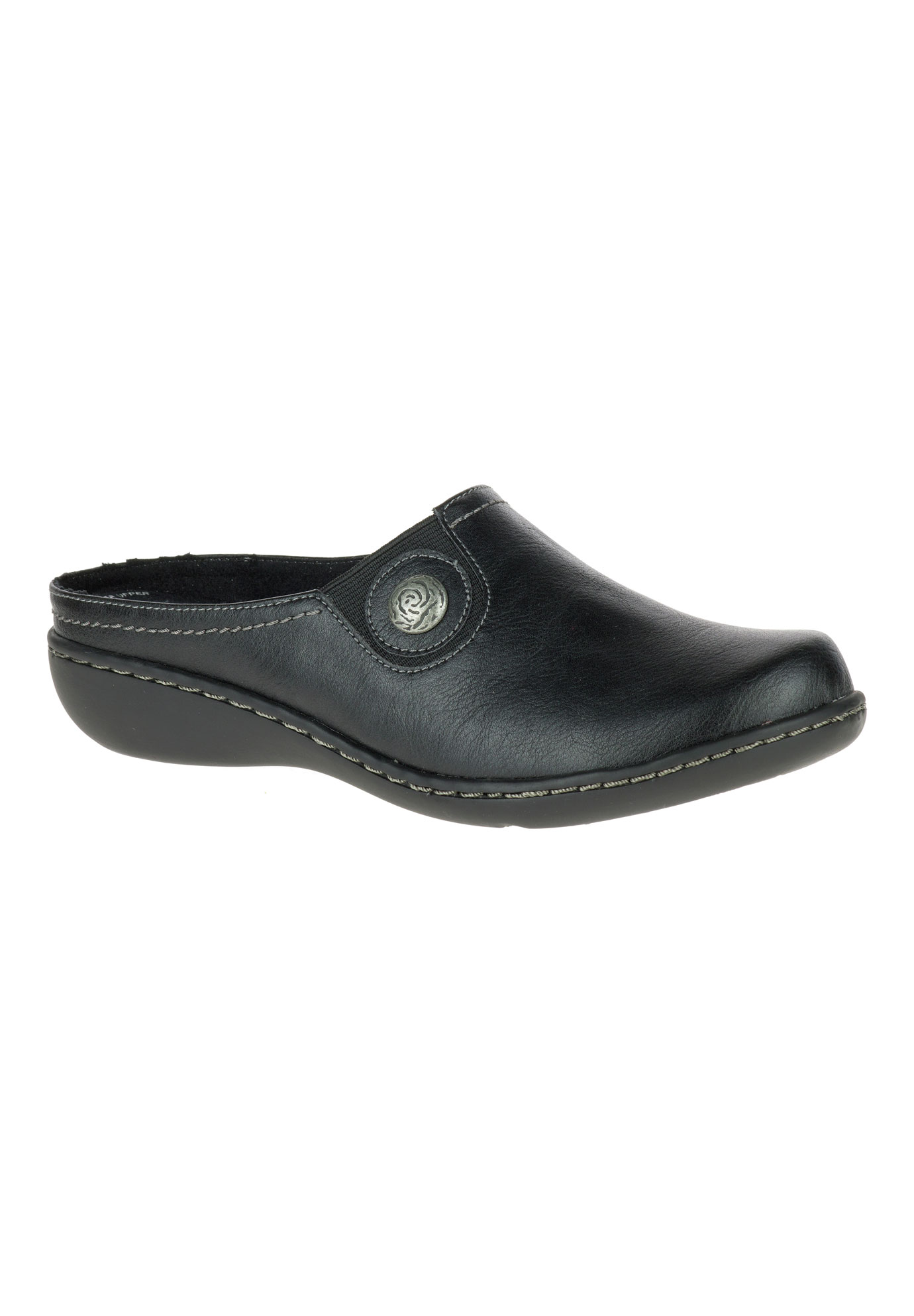 Jamila Clog by Hush Puppies® Soft Style, BLACK LEATHER, hi-res