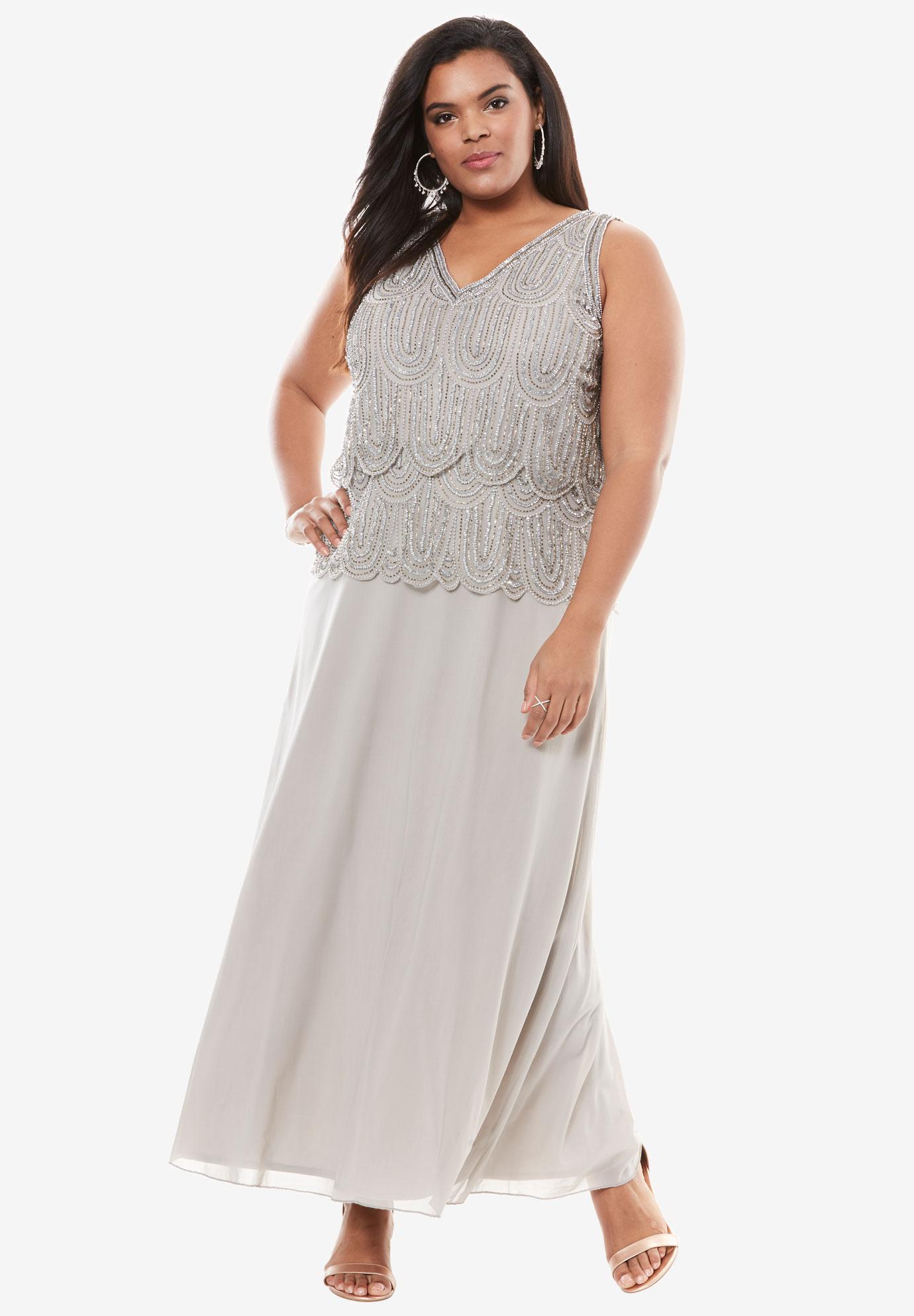 Scallop Beaded Dress by Pisarro Nights | Plus Size Evening Dresses ...