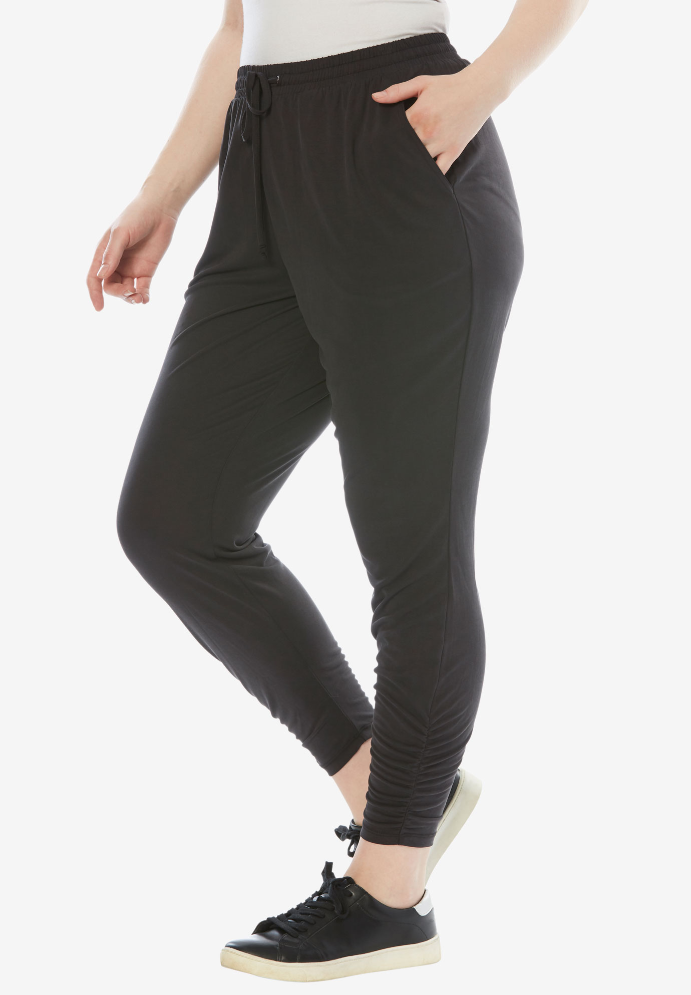 Ruched Joggers, BLACK, hi-res