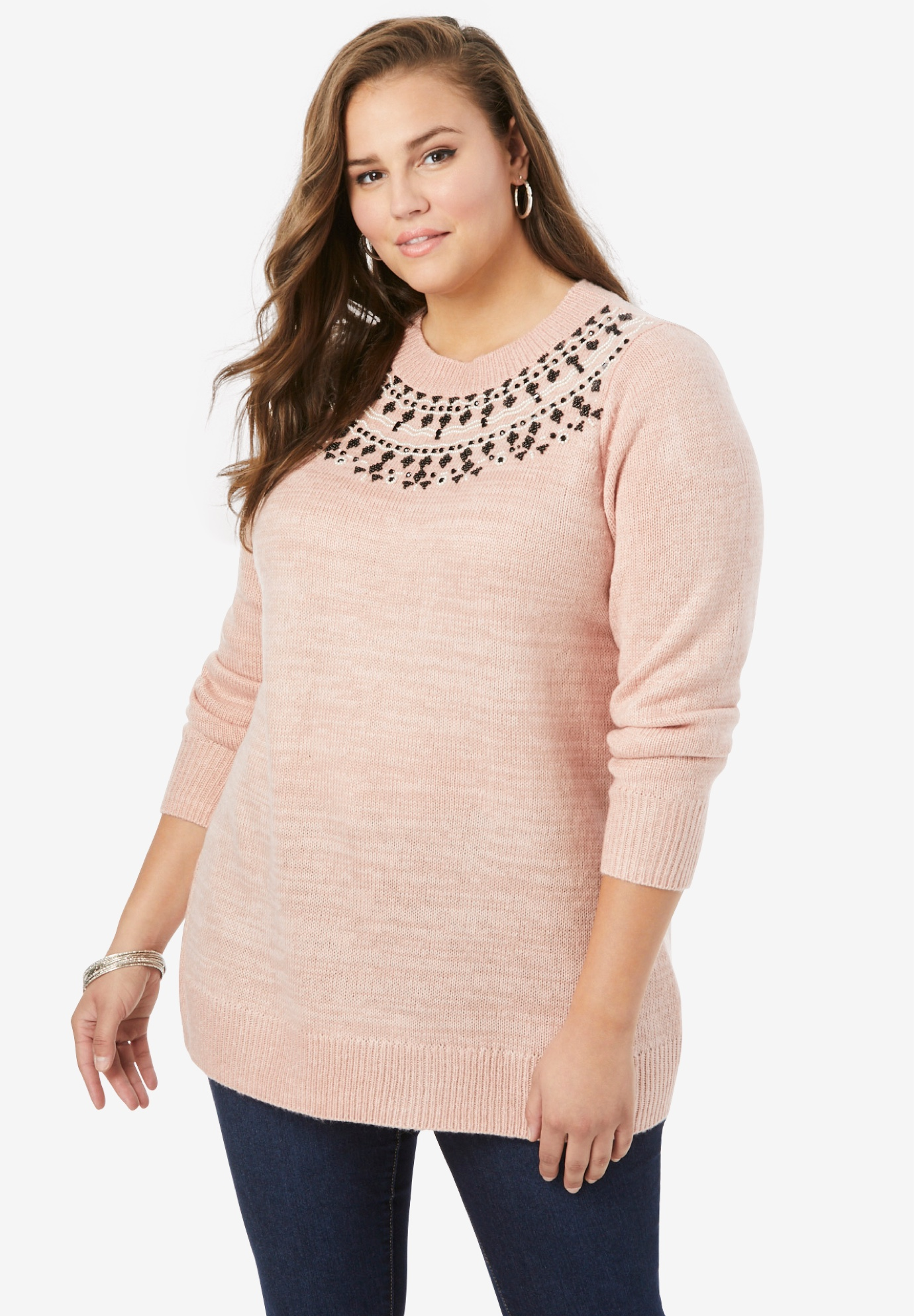 Beaded Mockneck Sweater,