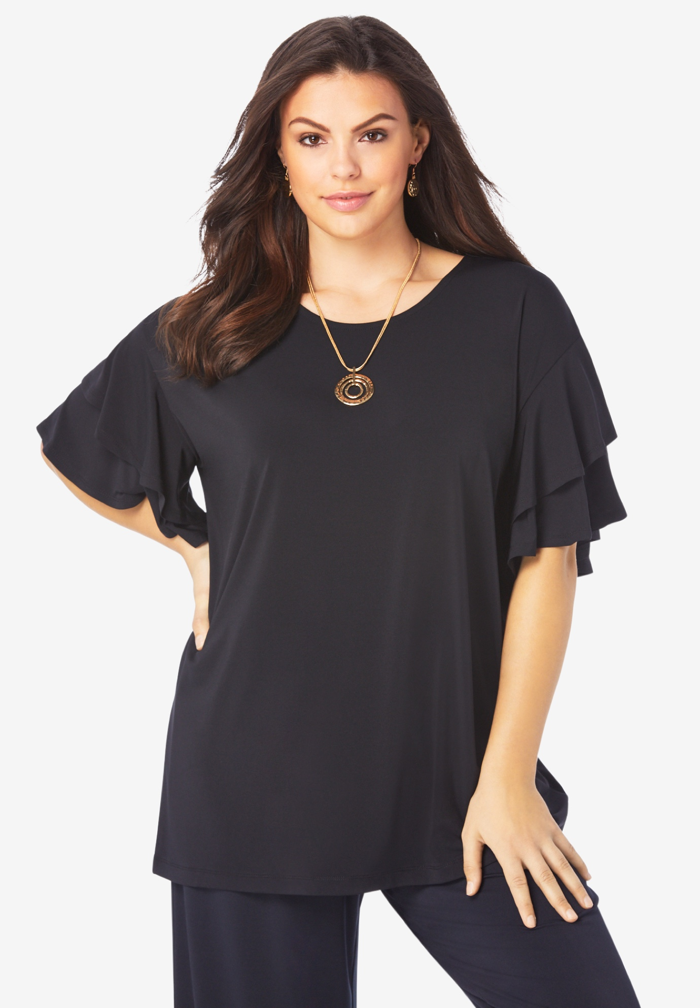 Scoopneck Ruffle-Sleeve Top,