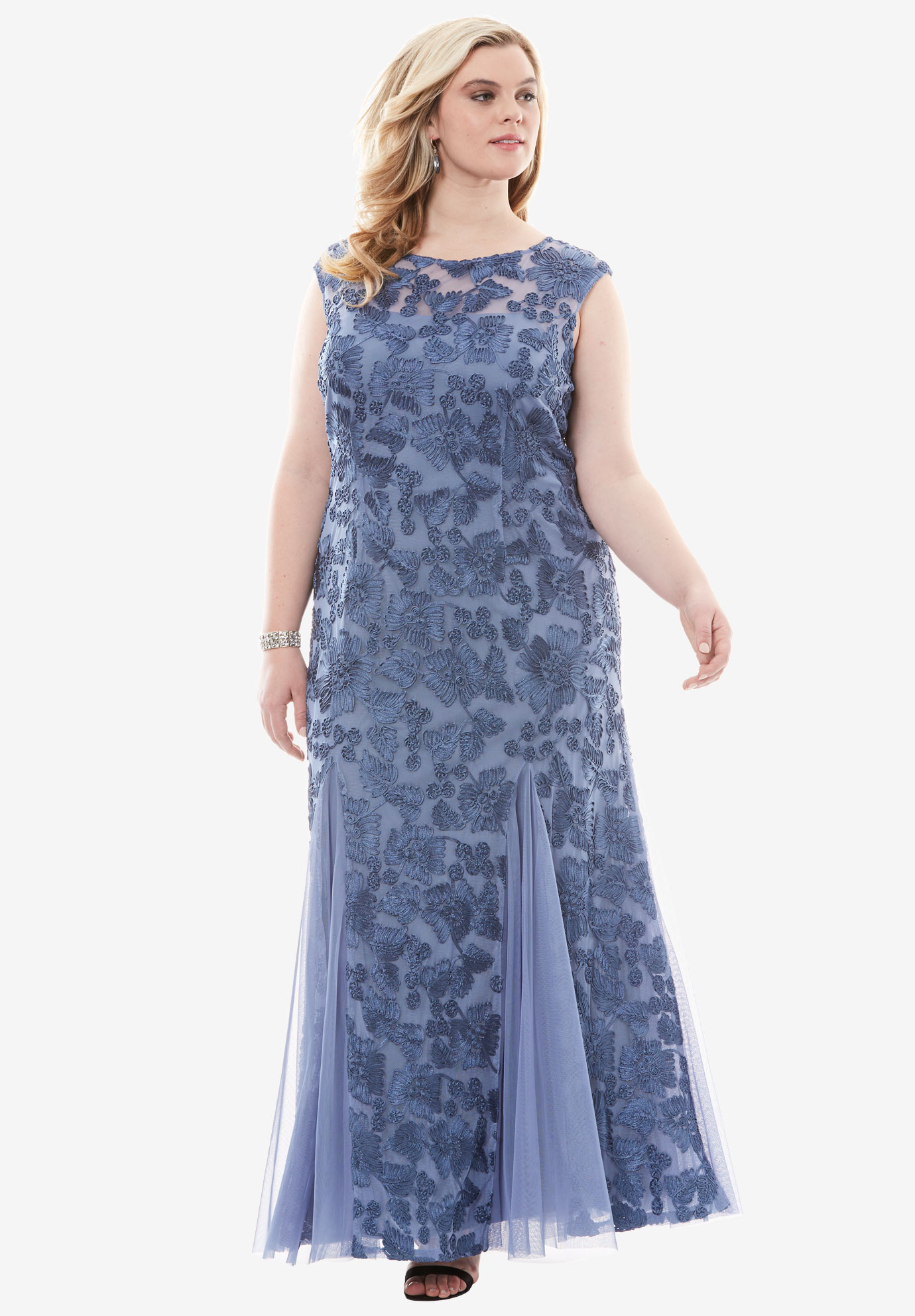 Embroidered Illusion Dress by Alex Evenings, ANTIQUE BLUE, hi-res