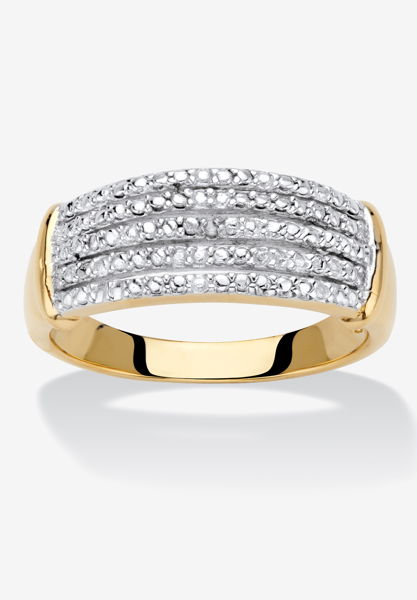 Yellow Gold-Plated Anniversary Ring with Genuine Diamond Accents,