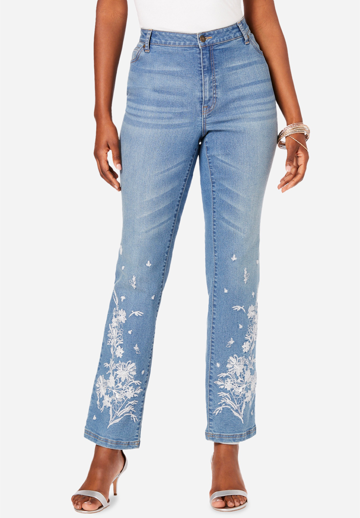 Floral Embroidered Straight-Leg Jean by Denim 24/7®,