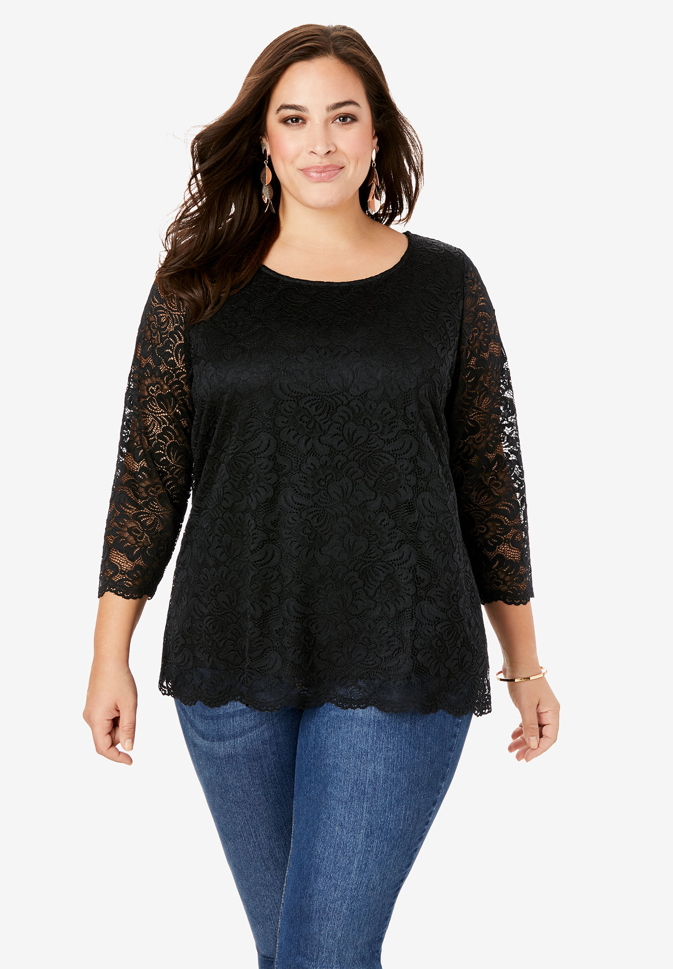 All-Over Lace Boatneck Tee with Illusion Sleeves,