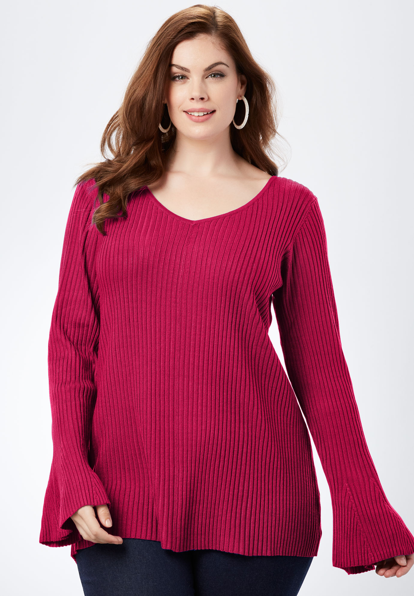 Ribbed Bell-Sleeve Sweater,