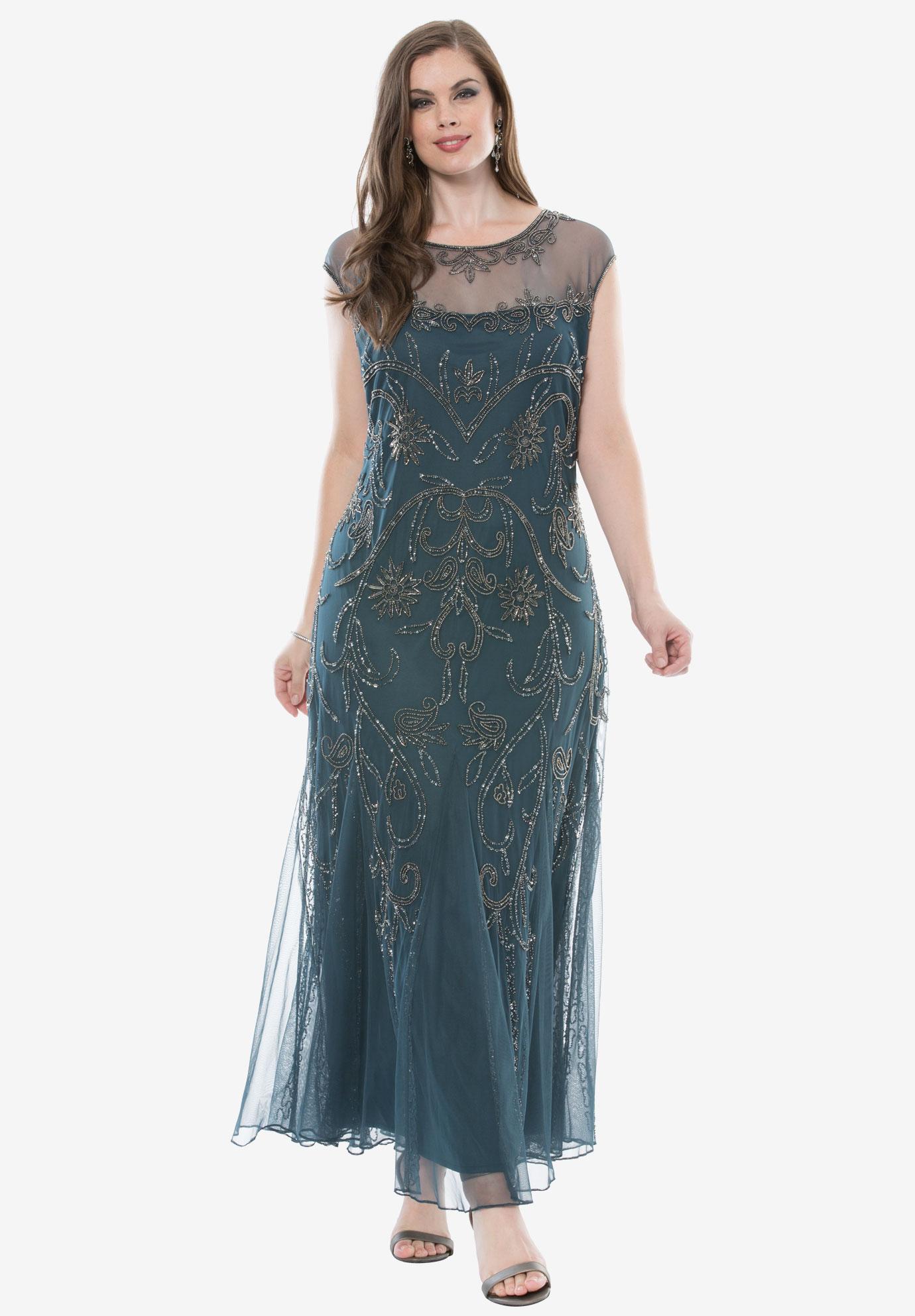 Beaded Illusion Dress by Pisarro Nights| Plus Size Formal ...