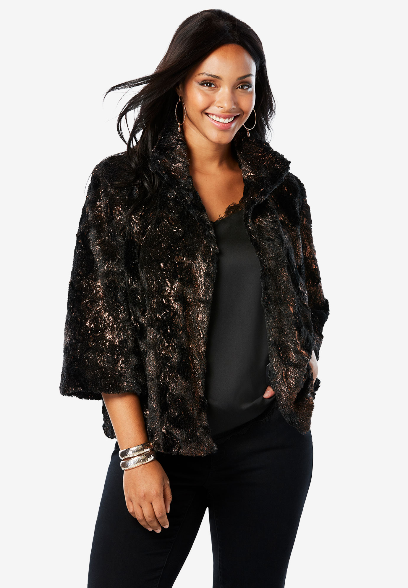 Metallic Copper Shrug by Donna Salyers Fabulous Furs,