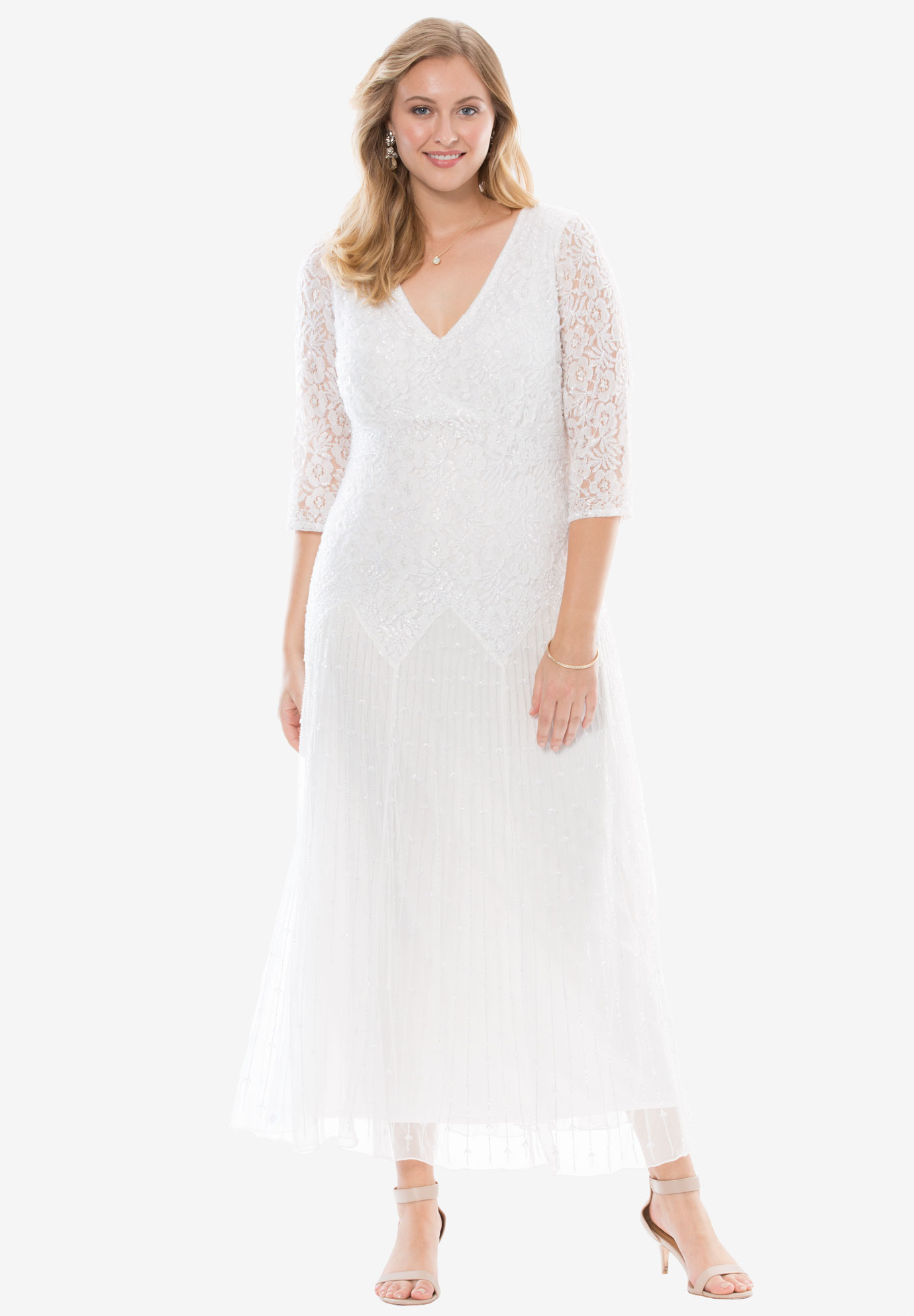 Beaded Lace Dress by Pisarro Nights | Plus Size Evening Dresses ...