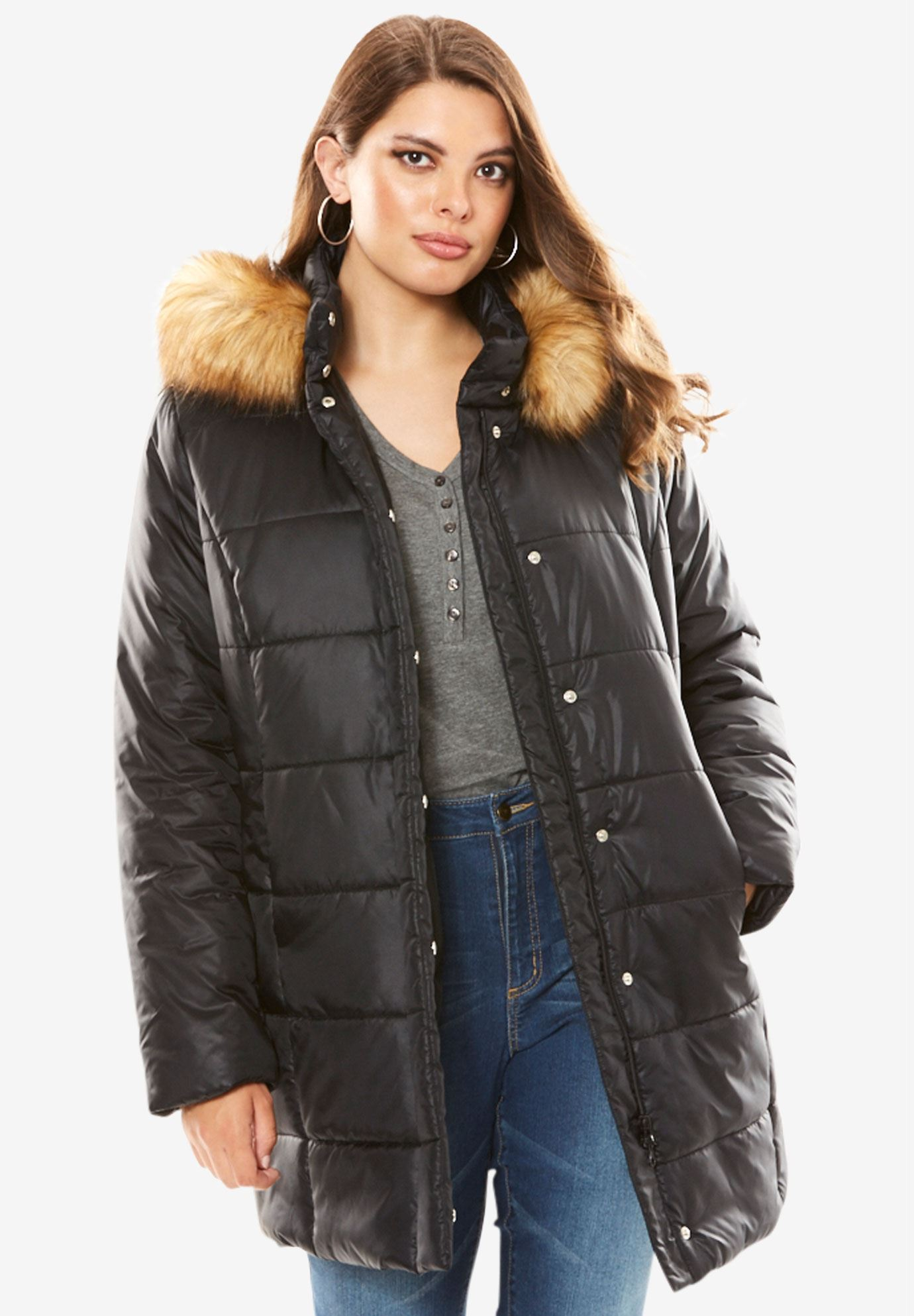 Quilted Faux Fur Trim Thigh-Length Parka,