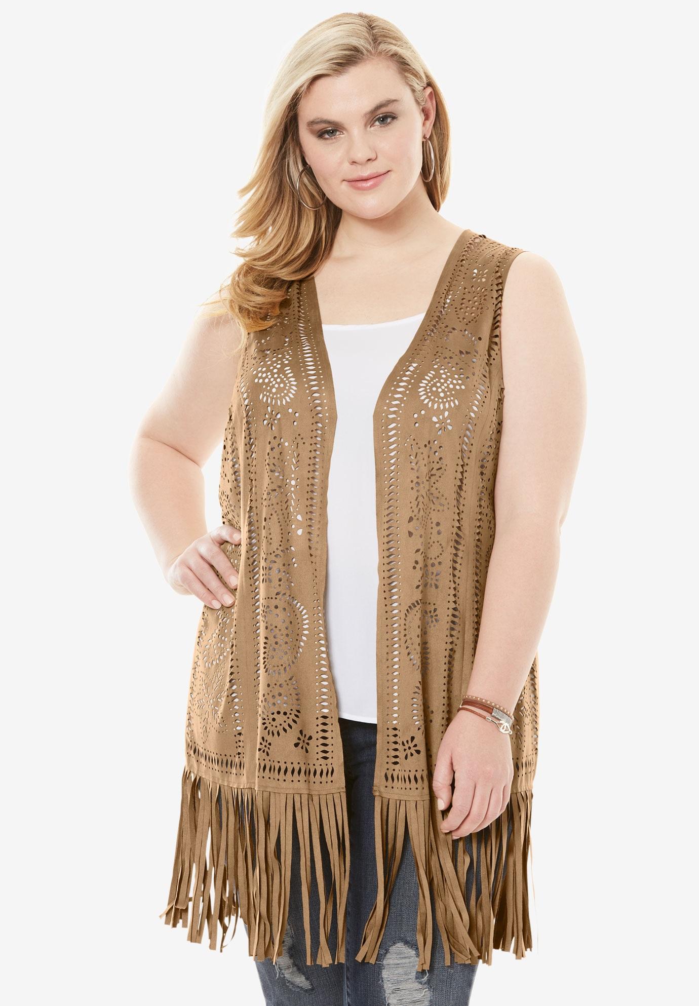Fringe Faux Suede Vest | Plus Size Jackets & Blazers | Roaman\'s