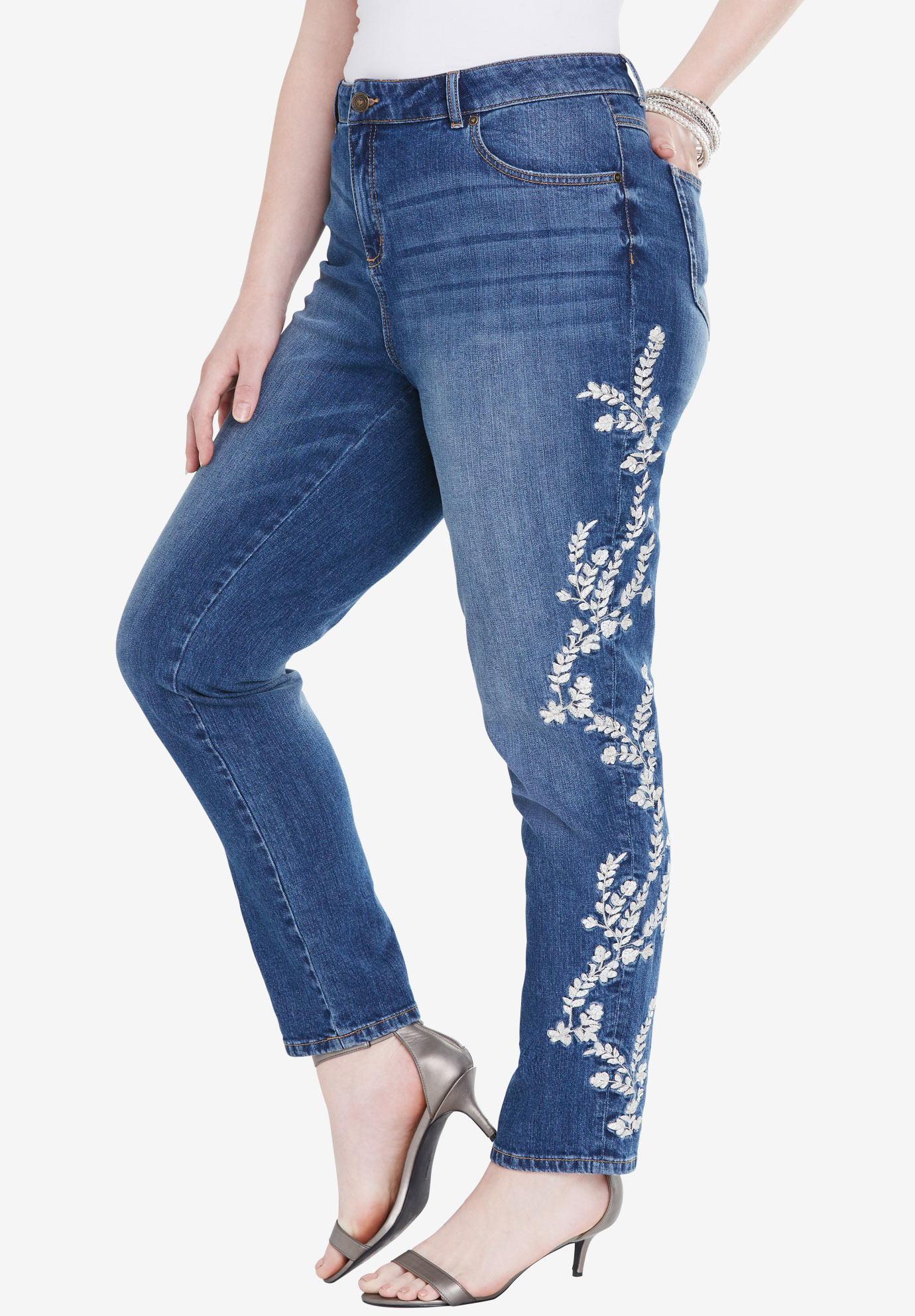 Embroidered Girlfriend Jean by Denim 24/7®, MEDIUM STONEWASH, hi-res