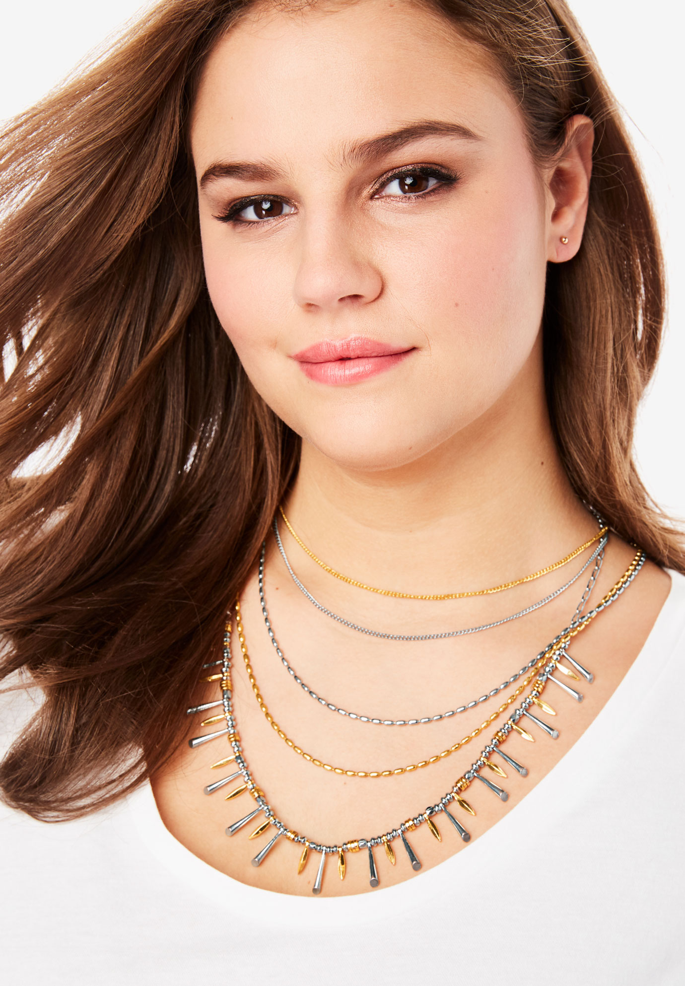 Multi-Strand Chain Necklace, GOLD SILVER