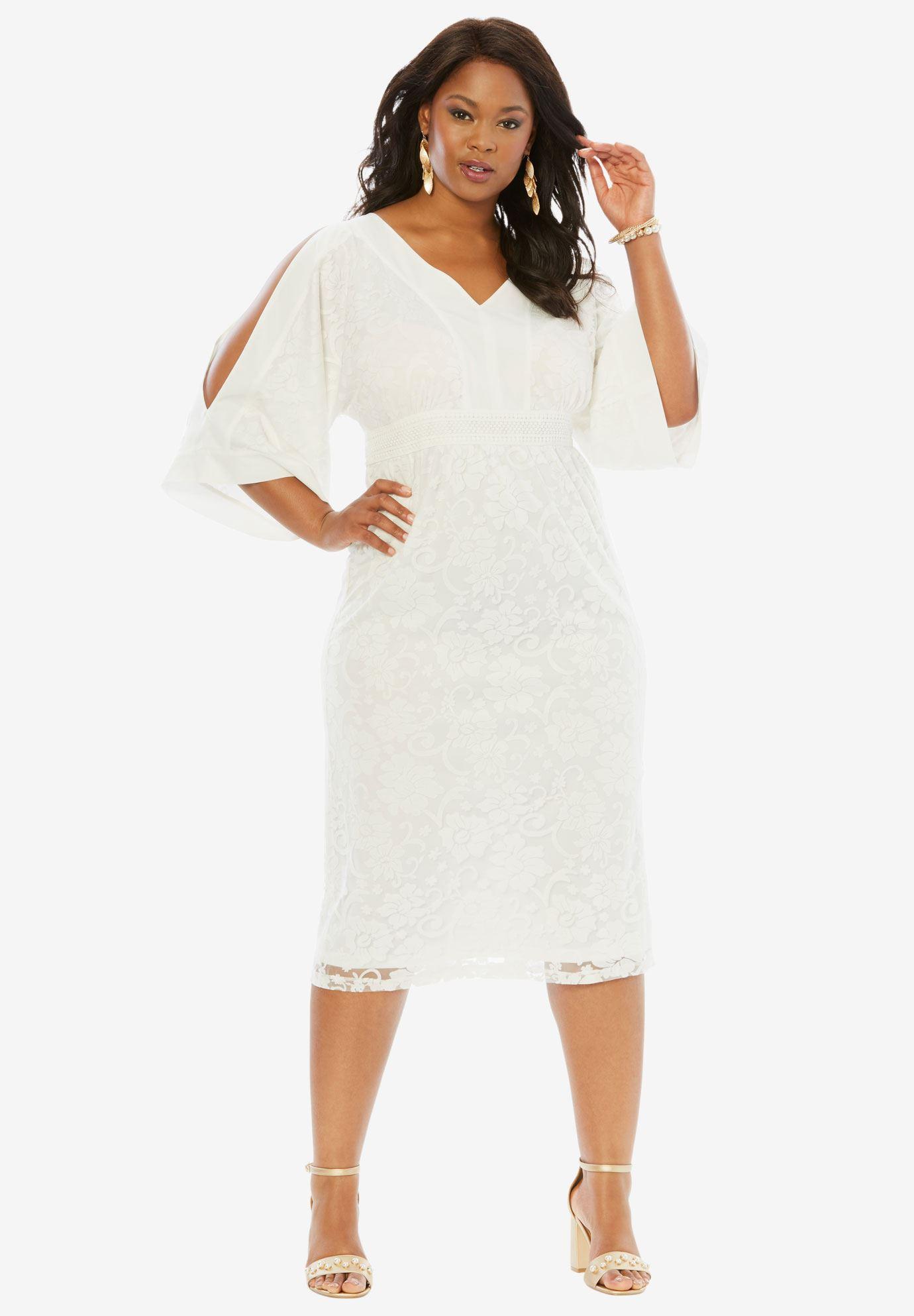 Cold-Shoulder Kimono Dress | Plus Size Cocktail Dresses | Roaman\'s