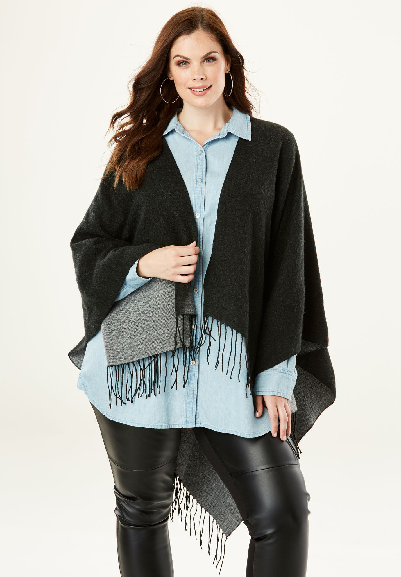 Reversible Shawl, BLACK HEATHER GREY