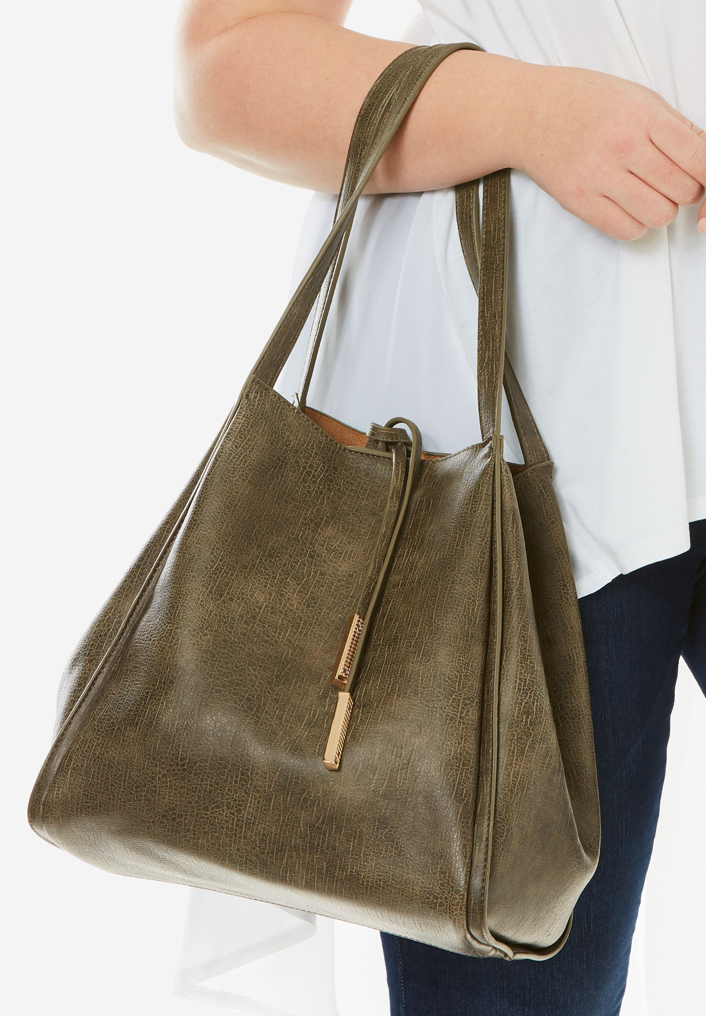 Faux-Leather Bucket Bag, OLIVE