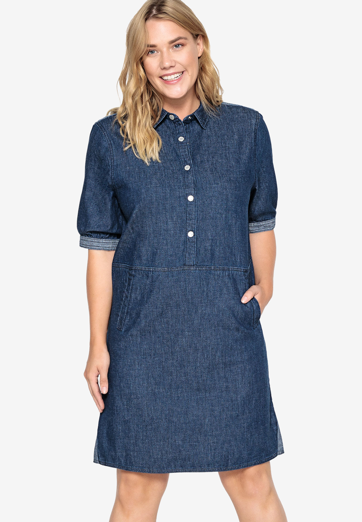 Denim Snap Front Shirtdress Castaluna by La Redoute,