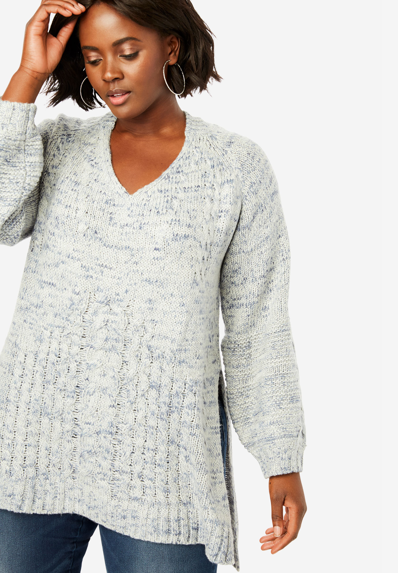 Mixed Texture Sweater with High-Low Hem,