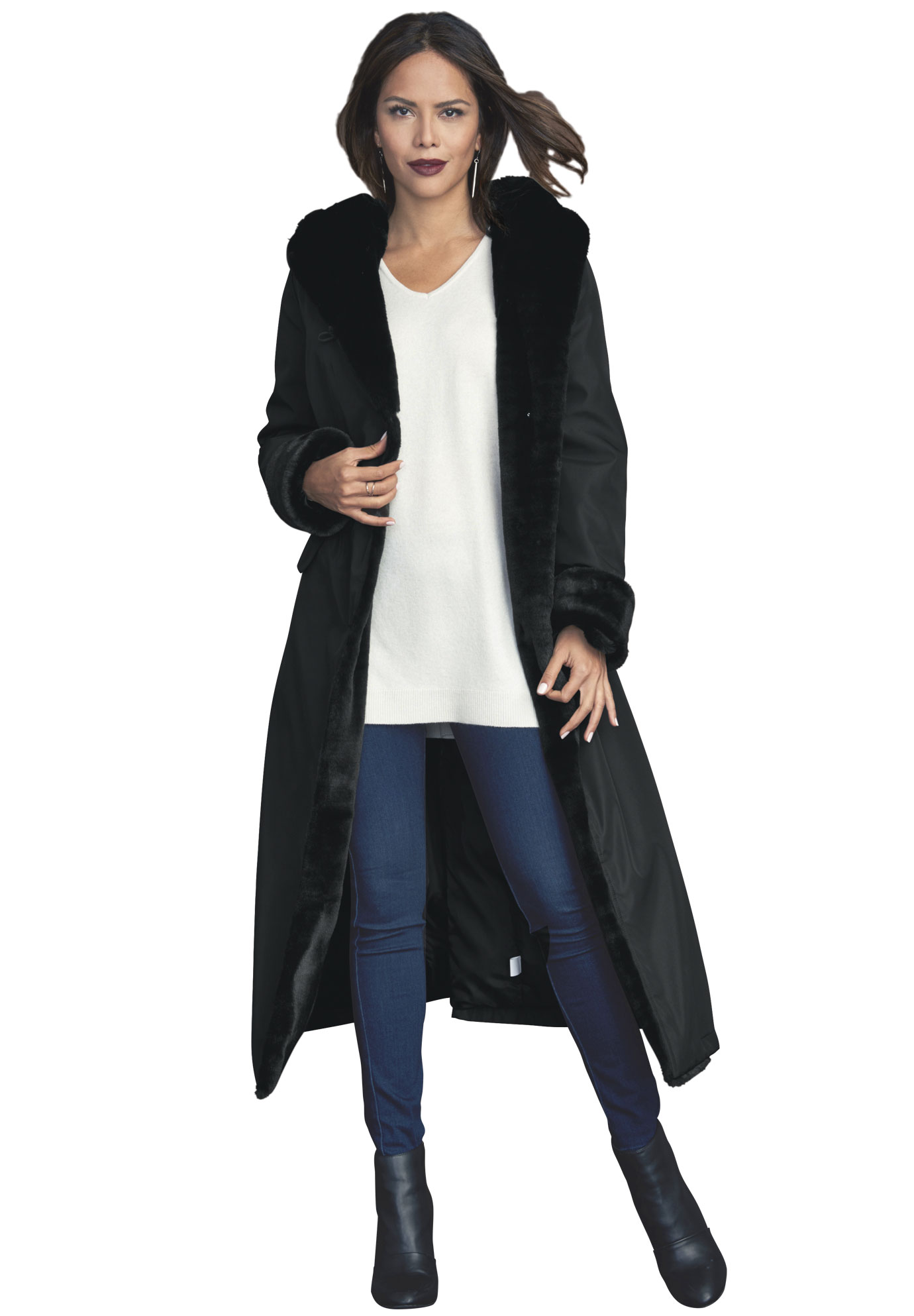 Hooded Faux-Fur Lined Raincoat,