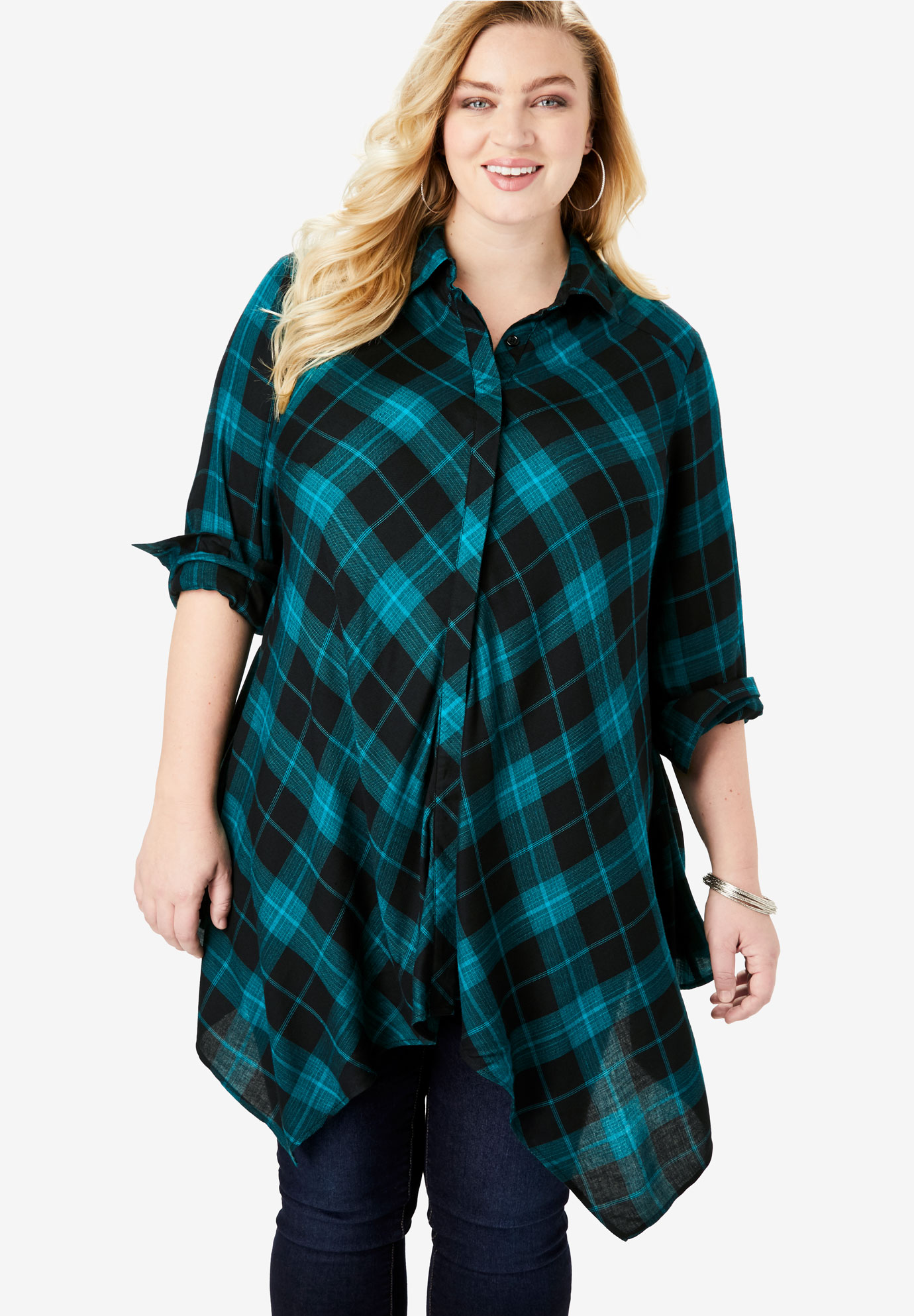 Handkerchief Hem Button-Front Tunic,