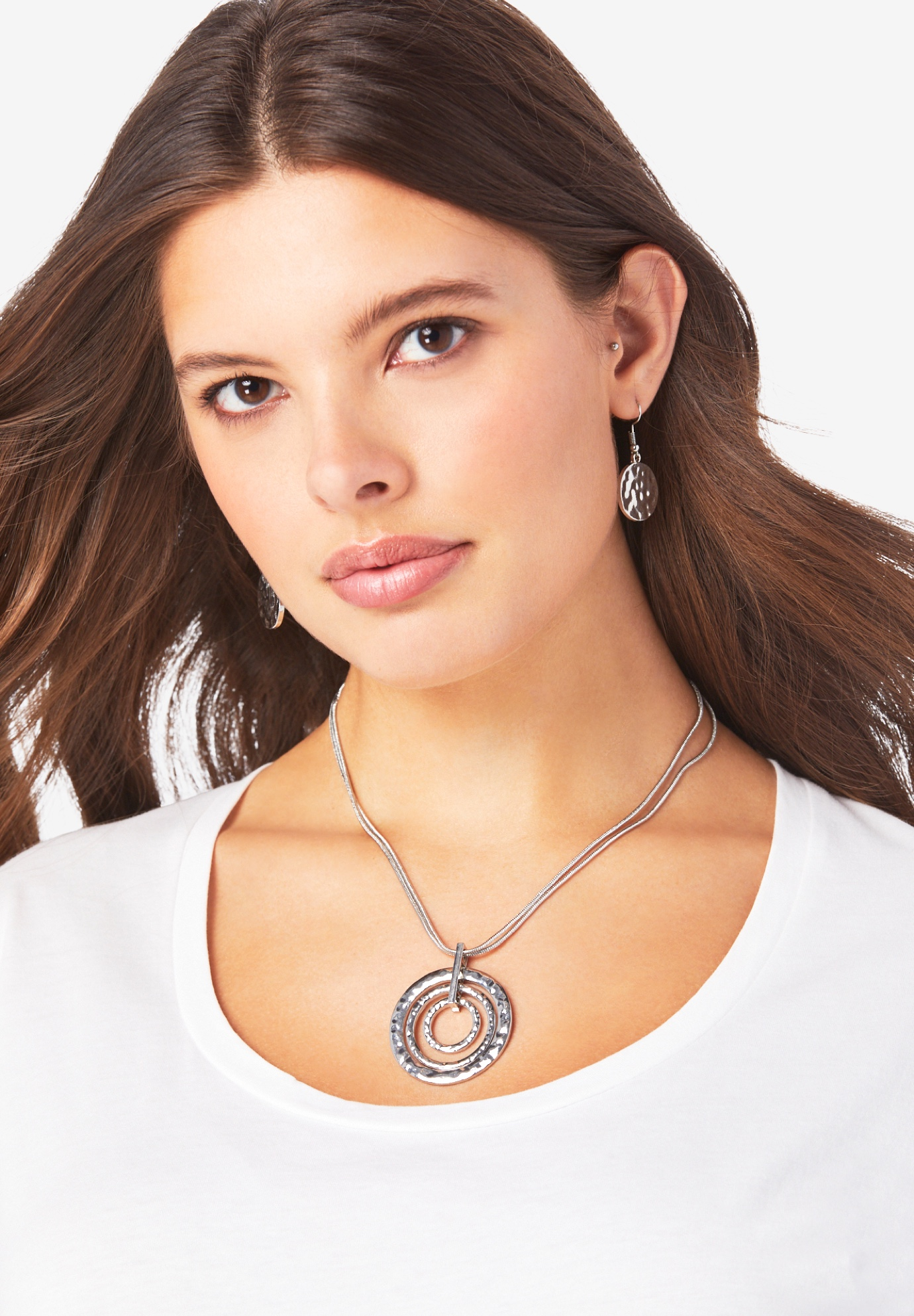 Circle Pendant Necklace & Earring Set,