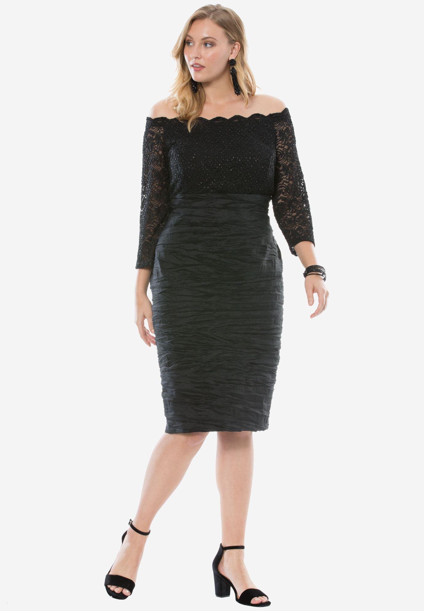 Off-The-Shoulder Dress by Alex Evenings | Plus Size Dresses | Roaman\'s