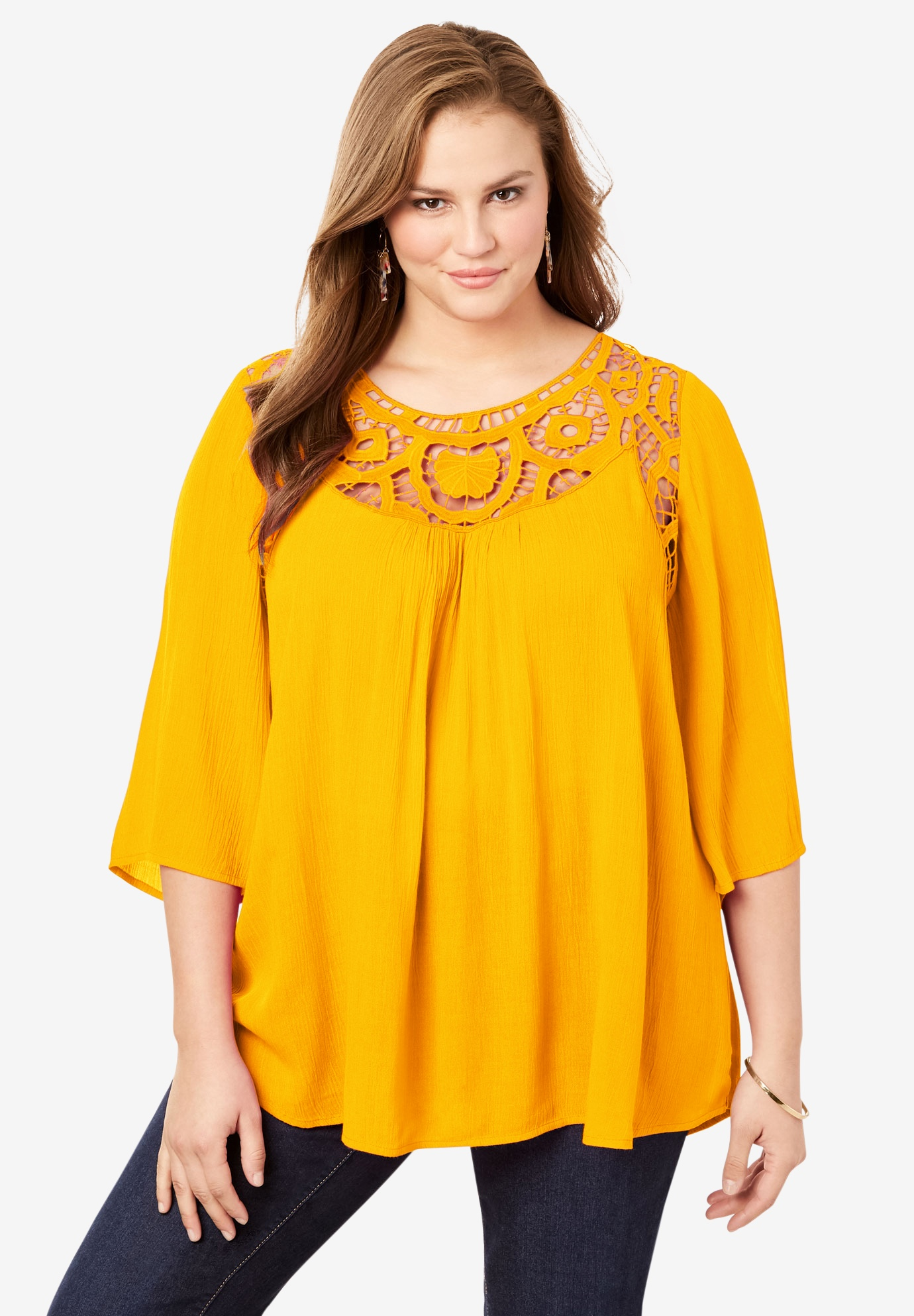 Lace Neckline Tunic with Three-Quarter Sleeves,