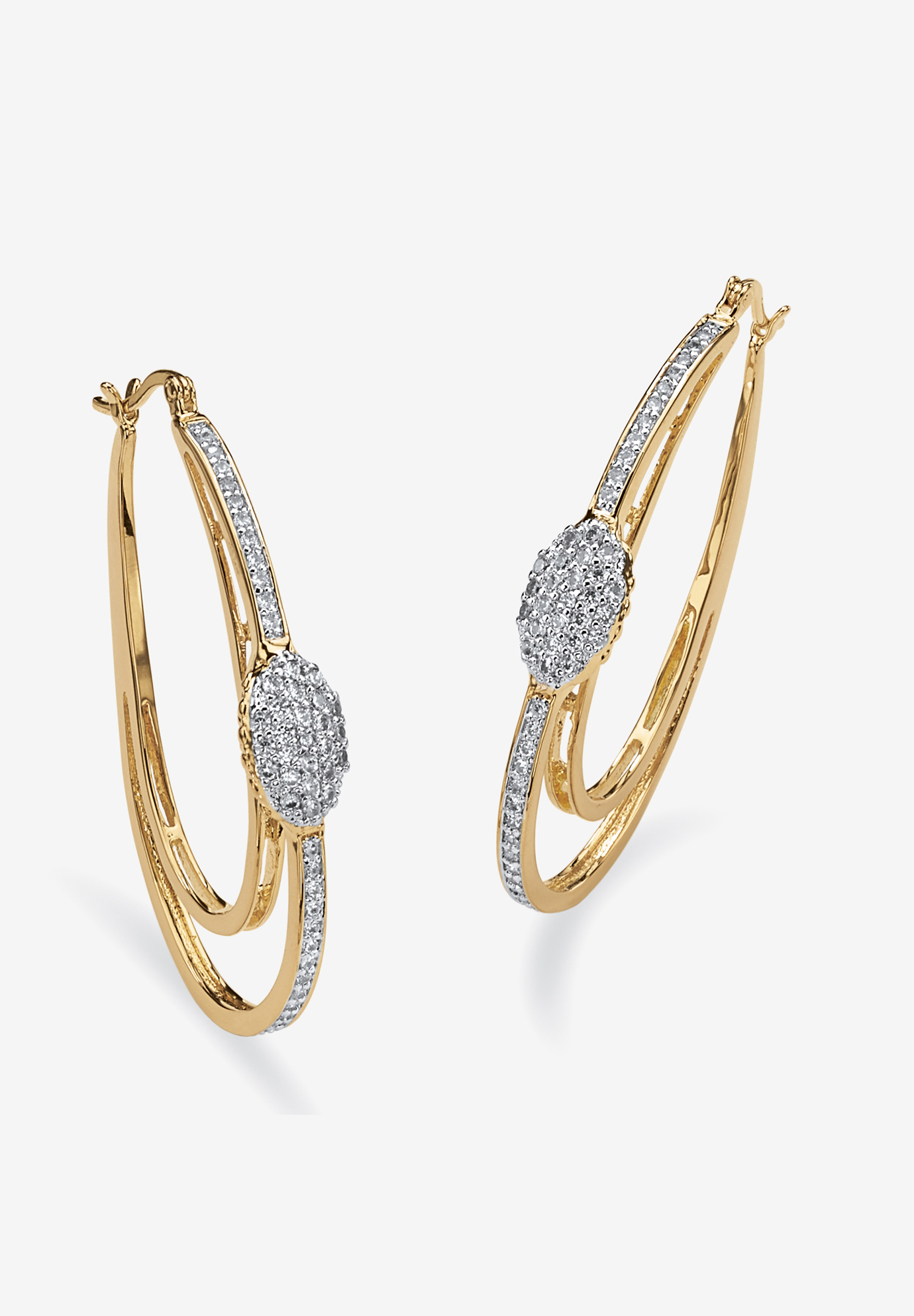 Gold-Plated Double Hoop Earrings with Cubic Zirconia, GOLD