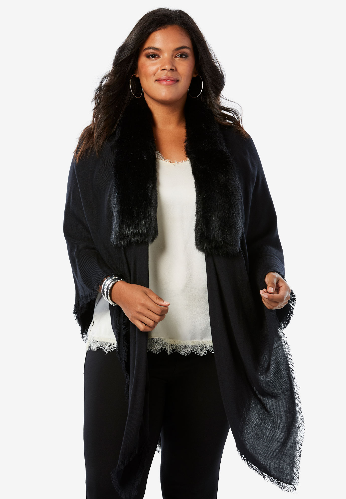 Faux Fur and Pashmina Wrap, BLACK