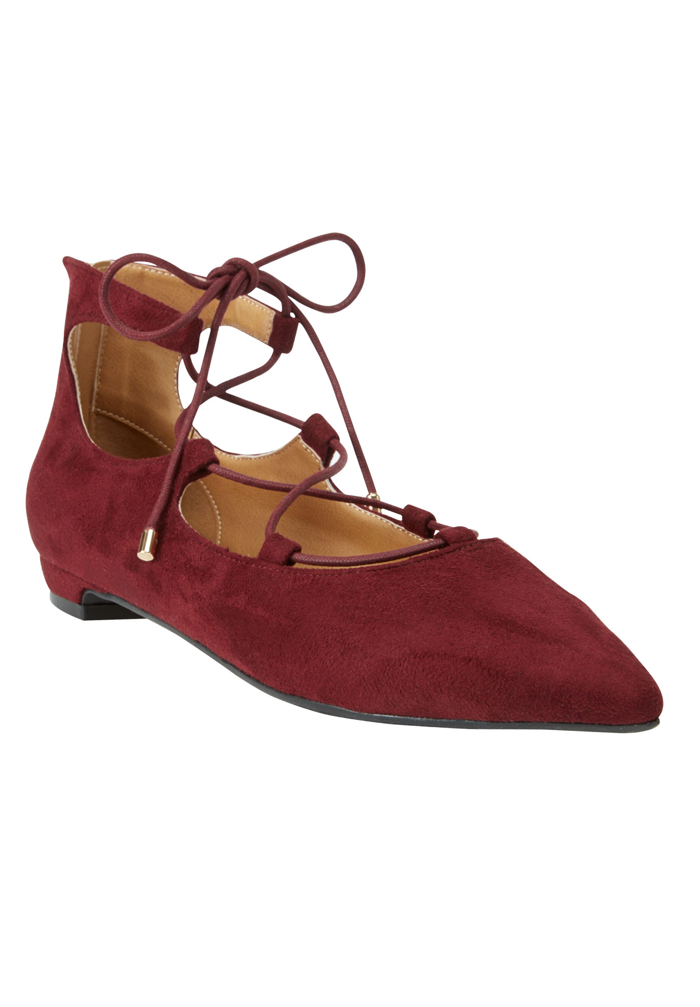 Odell Leather-Like Flats by Comfortview, BURGUNDY, hi-res