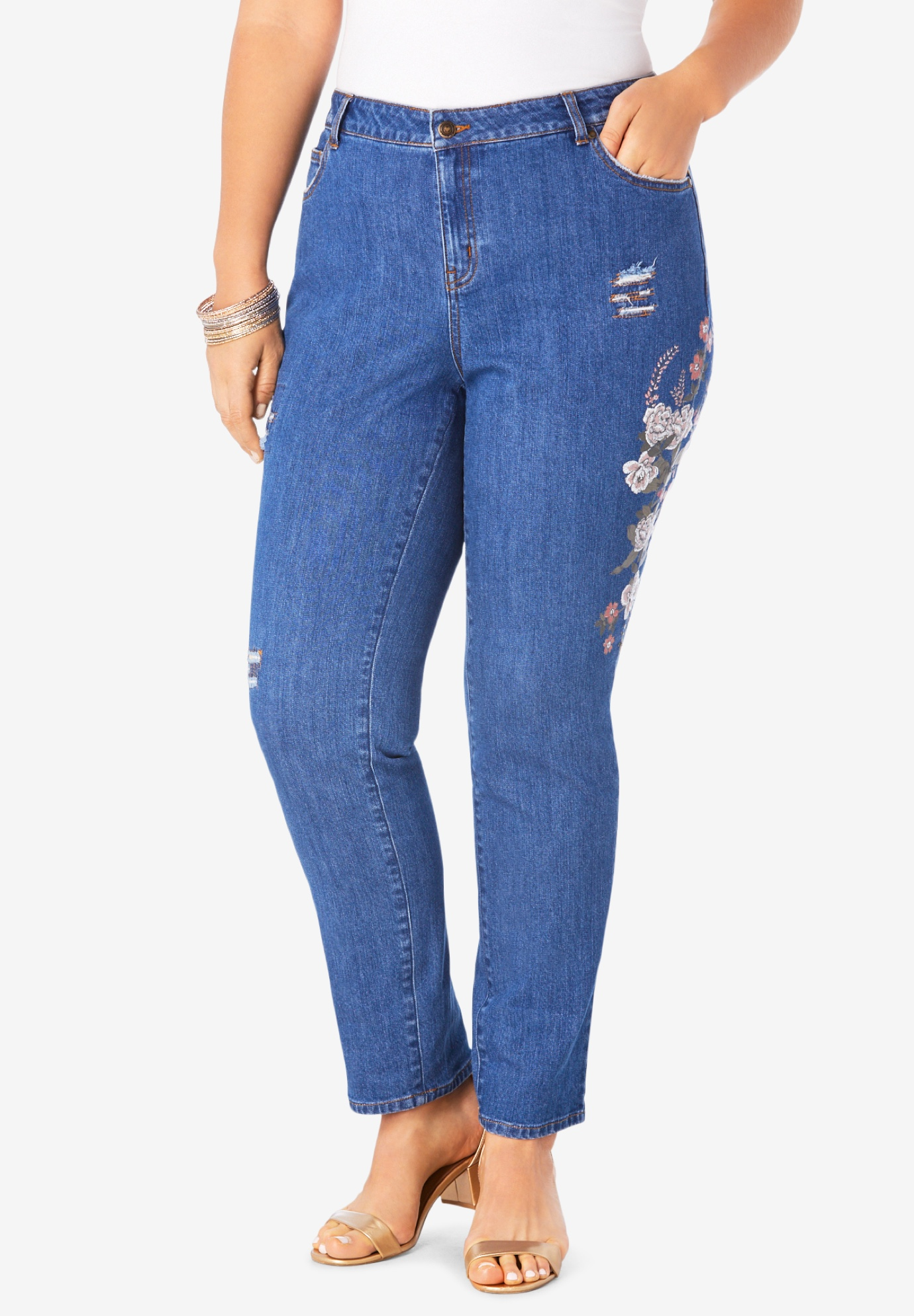 Printed Distressed Jean,