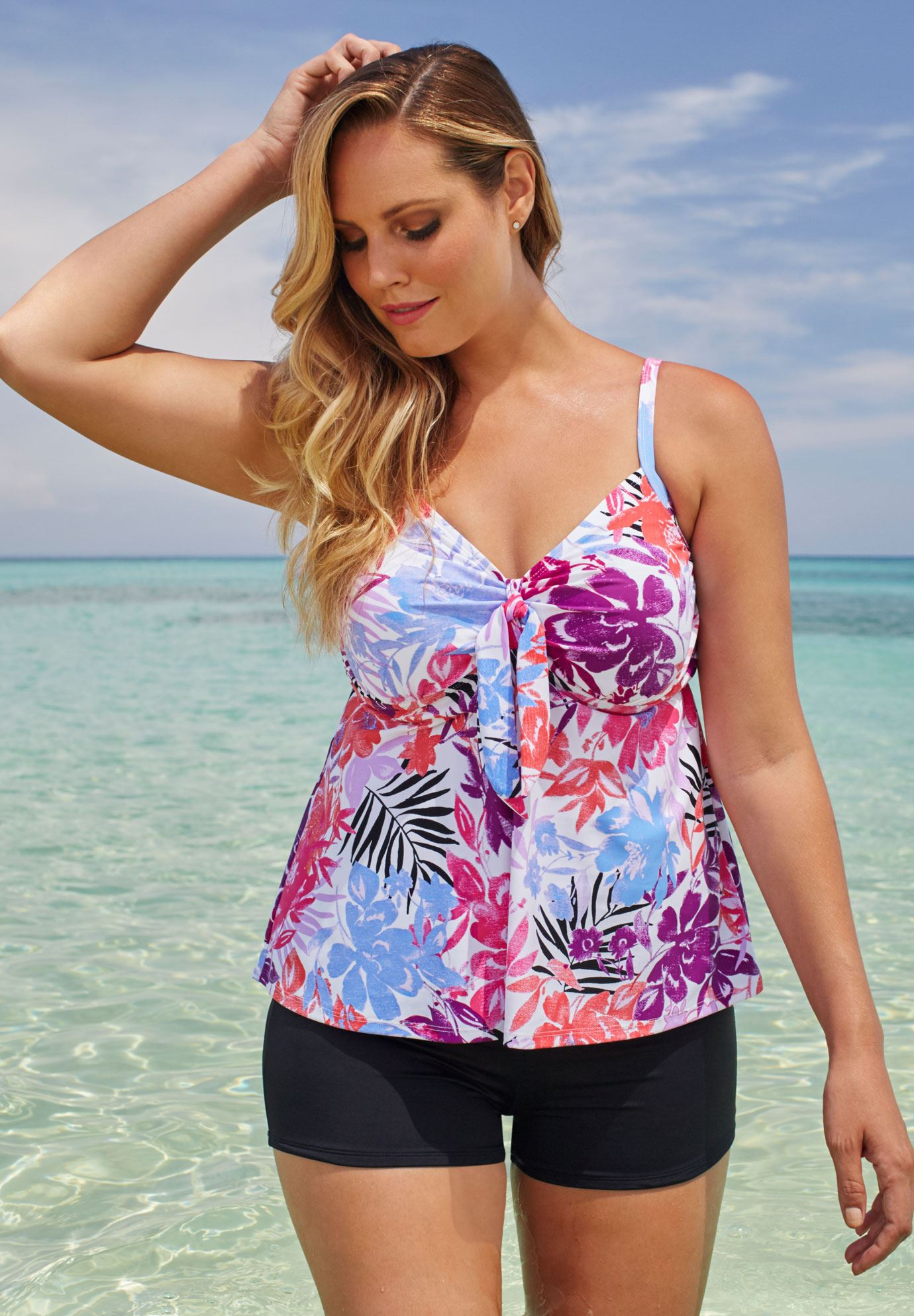 Tie-Front Tankini by Shore Club®, , hi-res