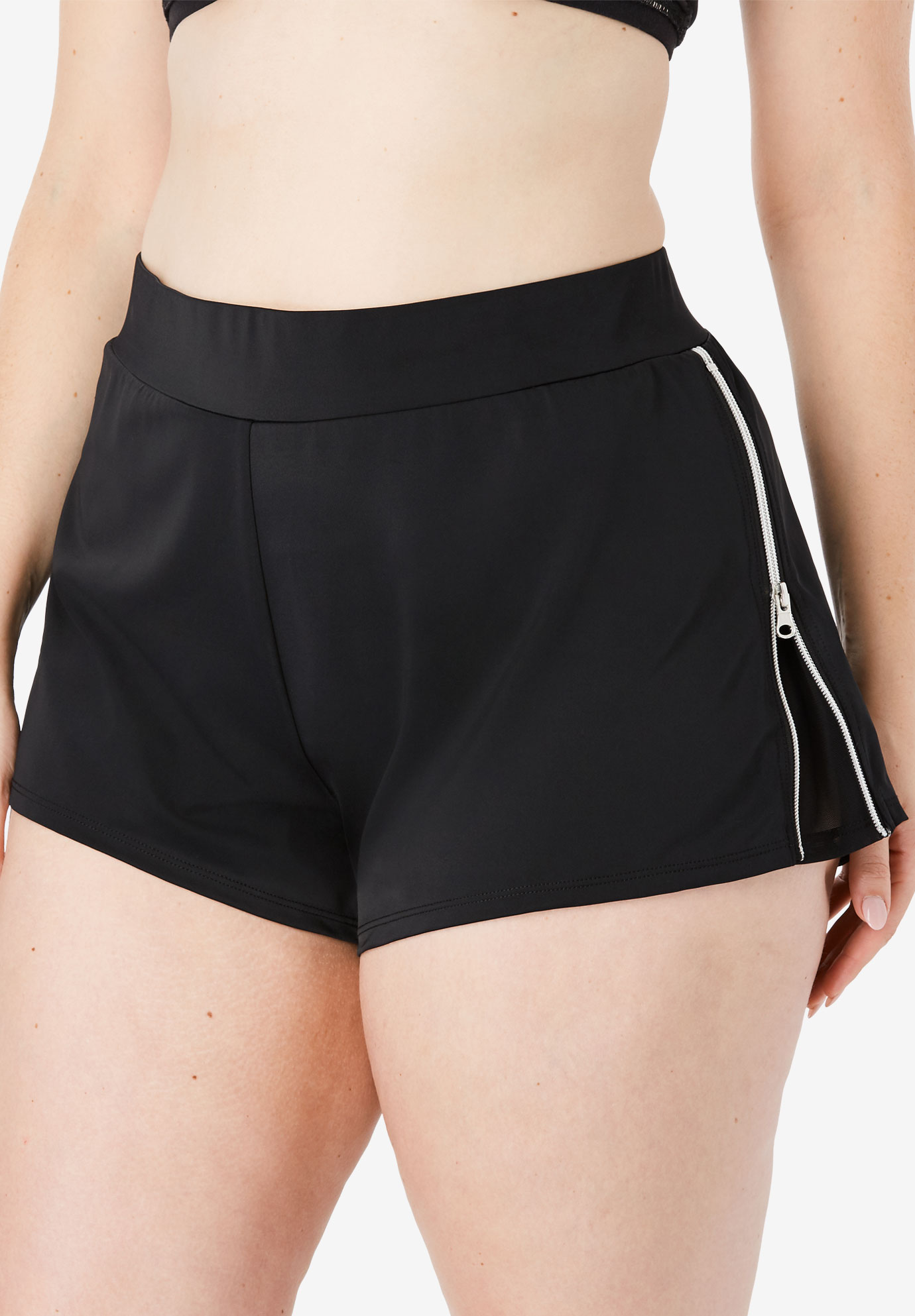 Side-Zip Swim Short with Built-In Brief,