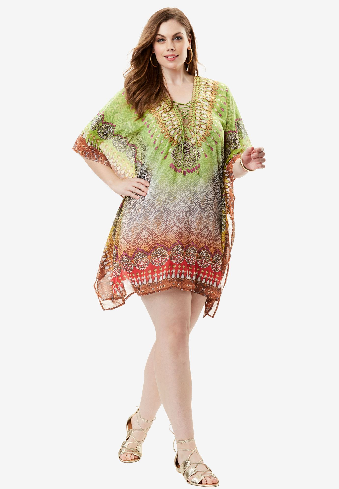 Crisscross Sheer Coverup, MULTI SNAKE, hi-res