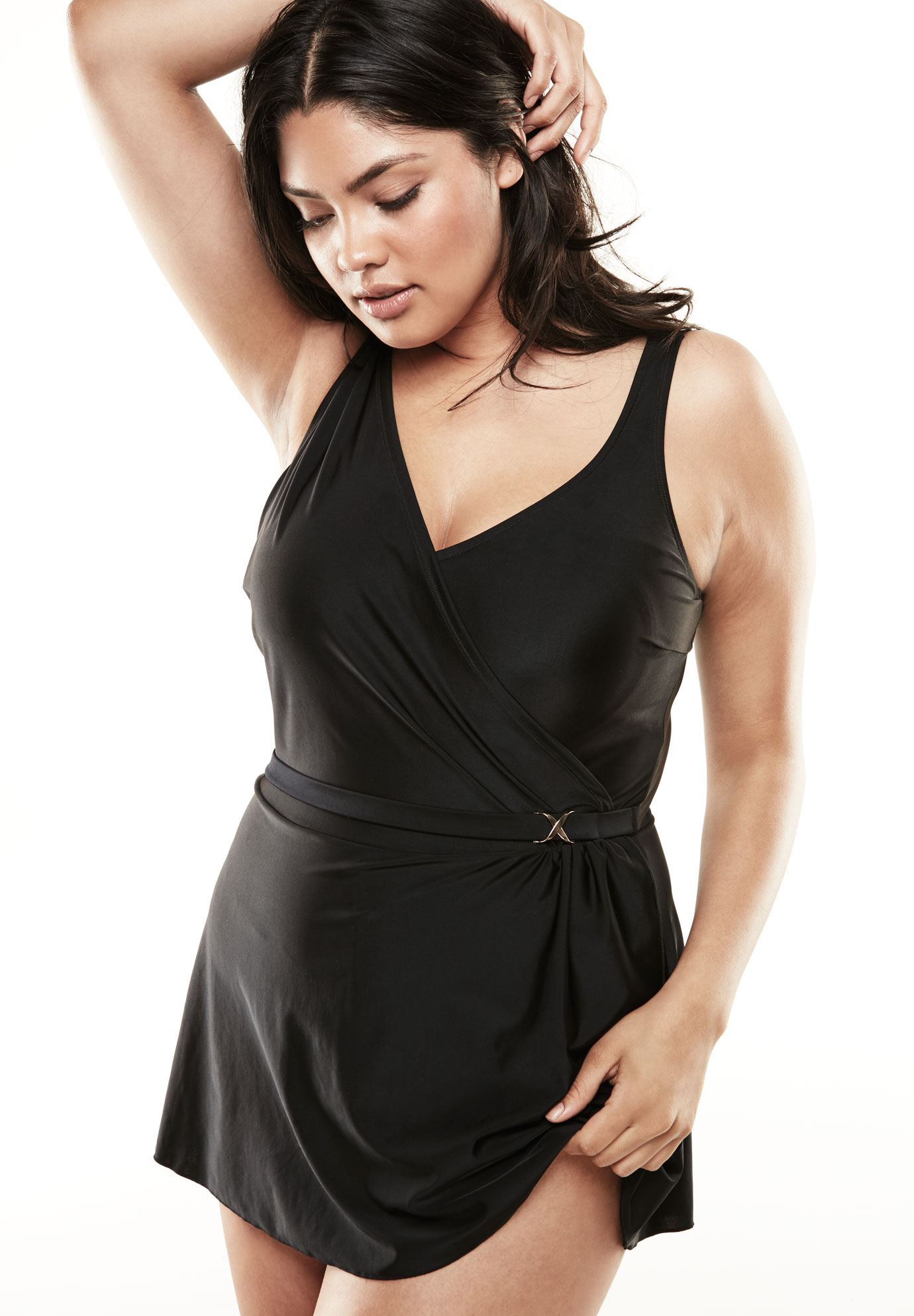 Wrap Swimdress , BLACK, hi-res