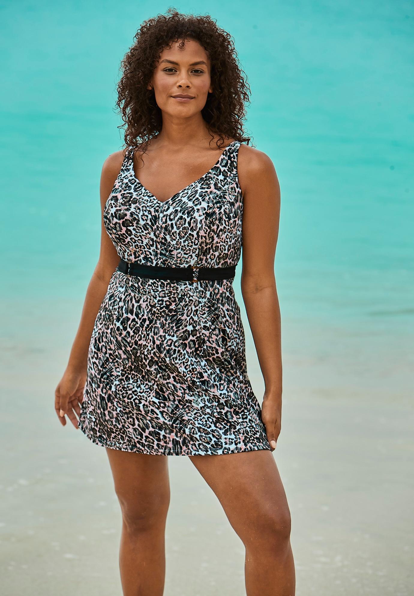Underwire Belted Swim Dress| Plus Size Swim Dresses | Roaman\'s